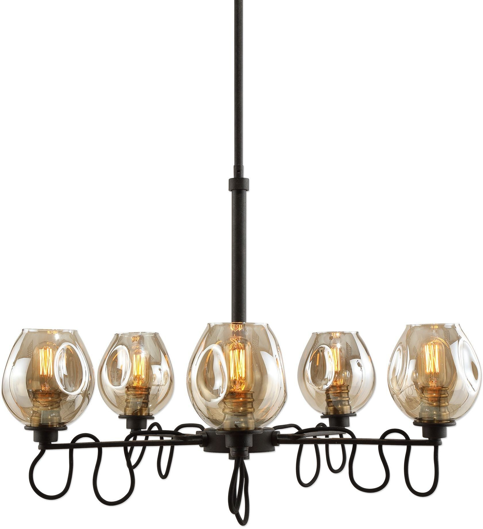 Fritz 5 light gold glass chandelier from uttermost coleman furniture 2429984 arubaitofo Images