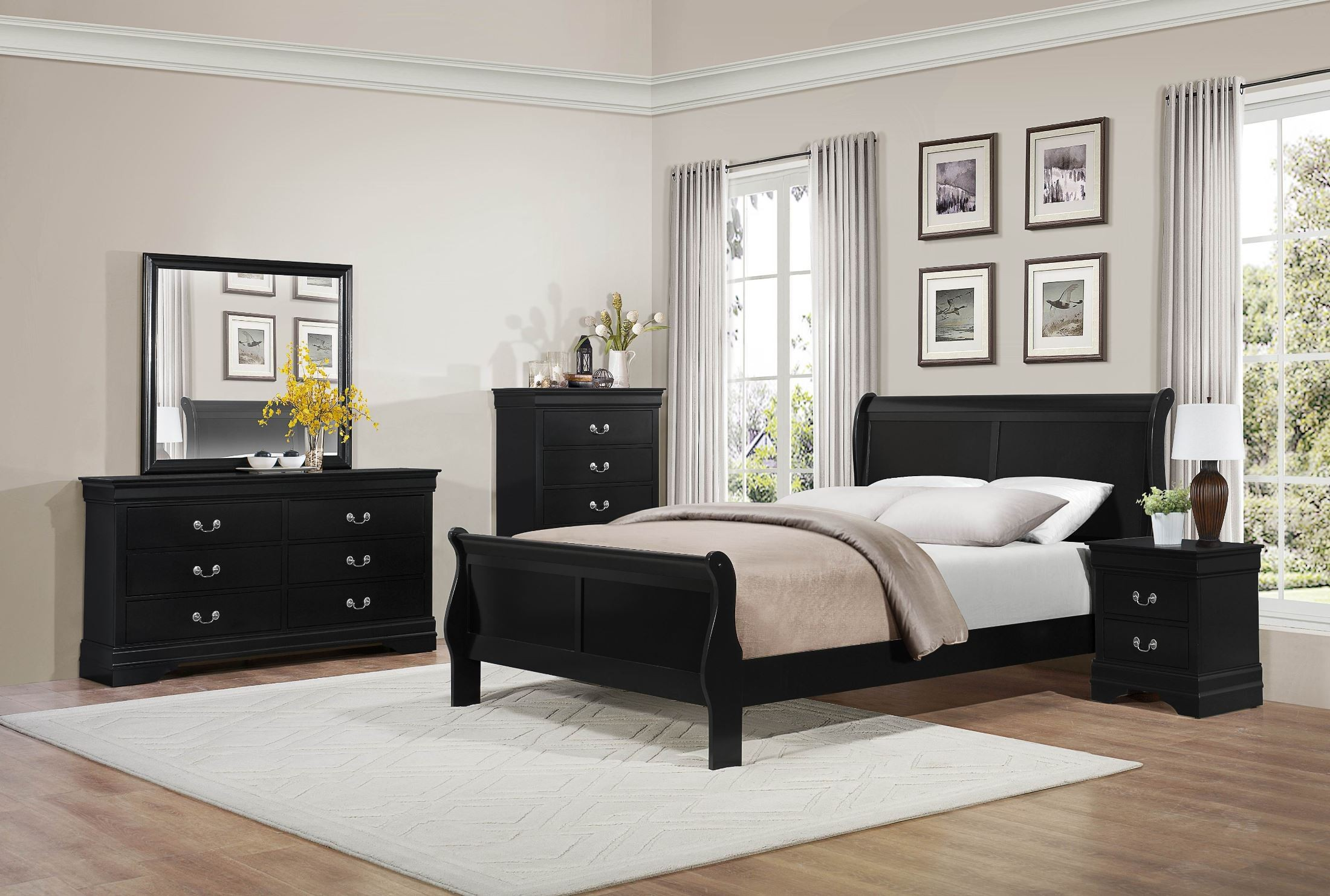 Mayville burnished black sleigh bedroom set from - Black bedroom furniture sets full ...