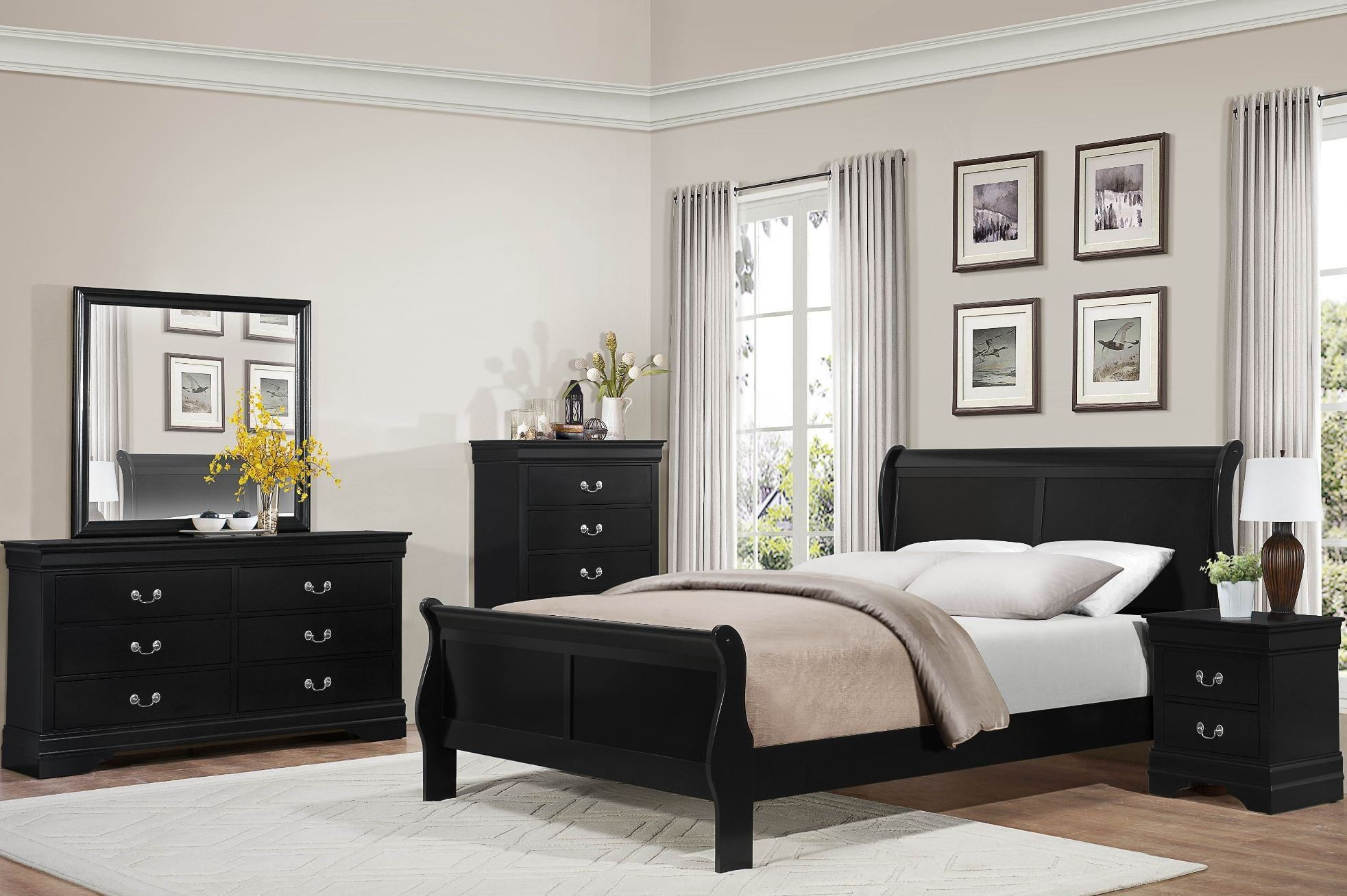 Mayville Burnished Black Sleigh Bedroom Set From