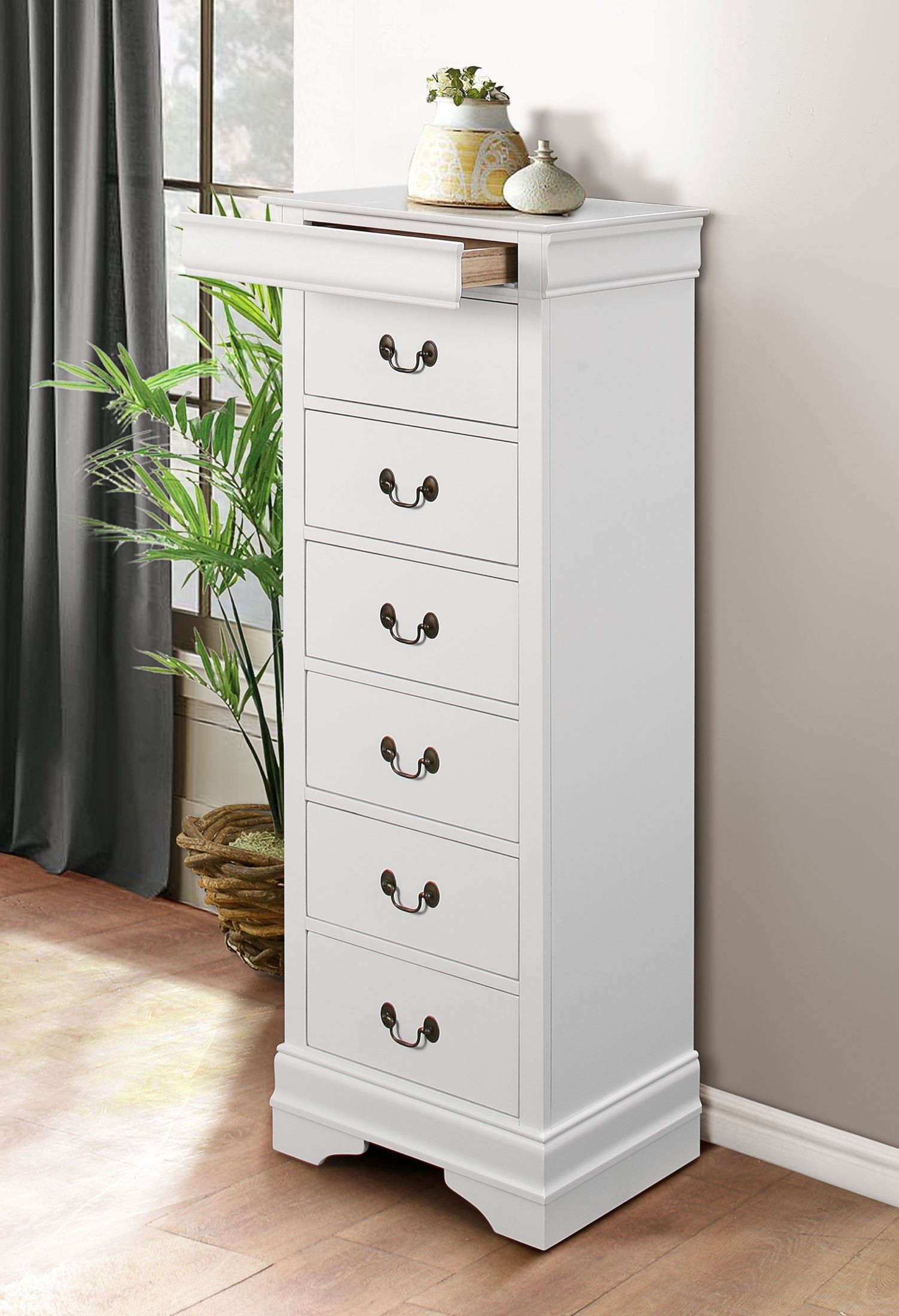 Mayville Burnished White Hidden Drawer Lingerie Chest From