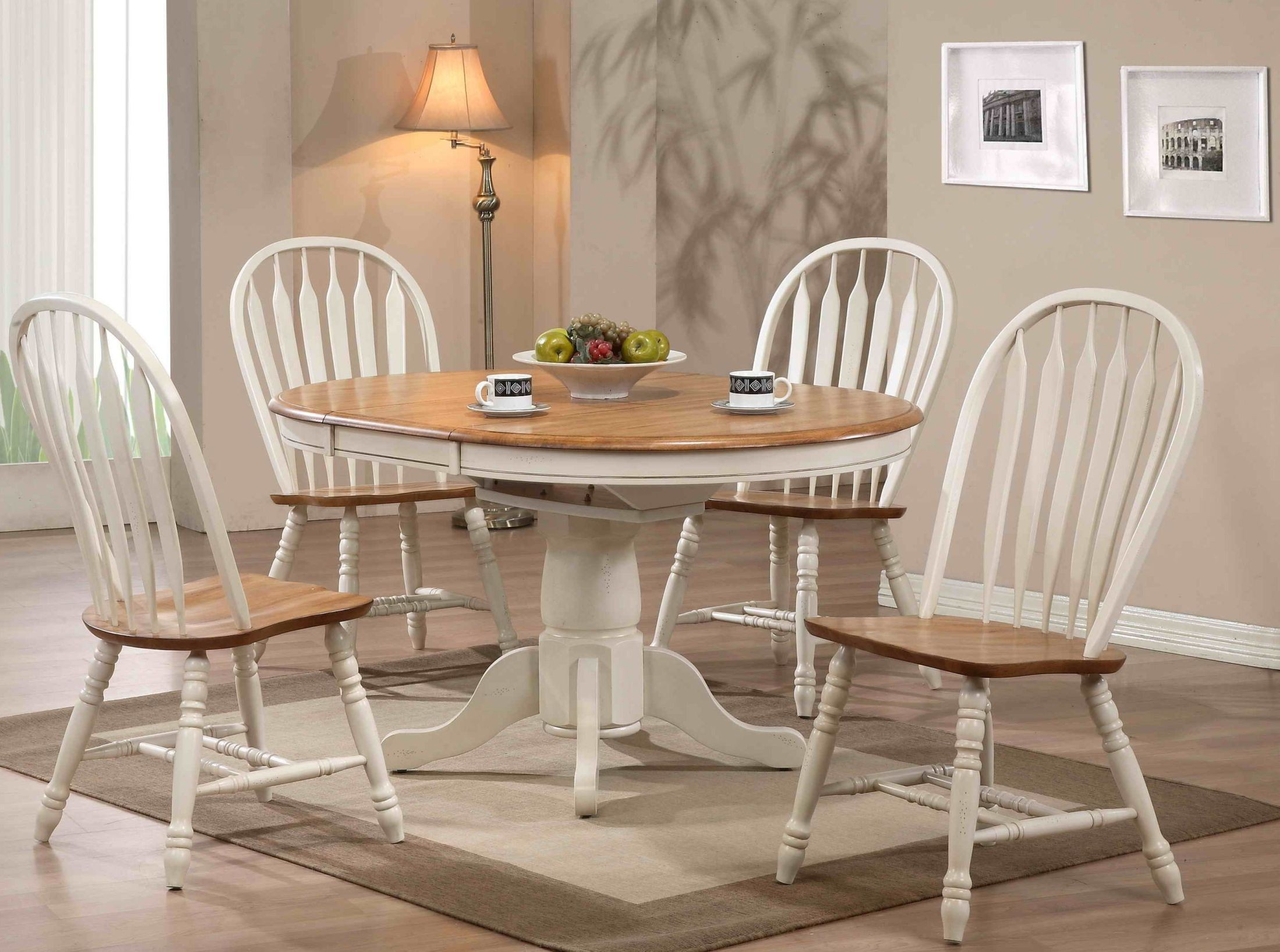 Missouri White Single Pedestal Dining Room Set From Eci