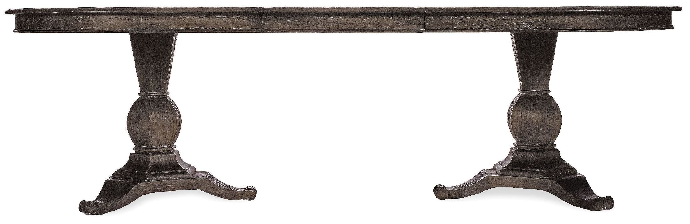 St germain rectangular double pedestal extendable dining for Rectangular pedestal dining table