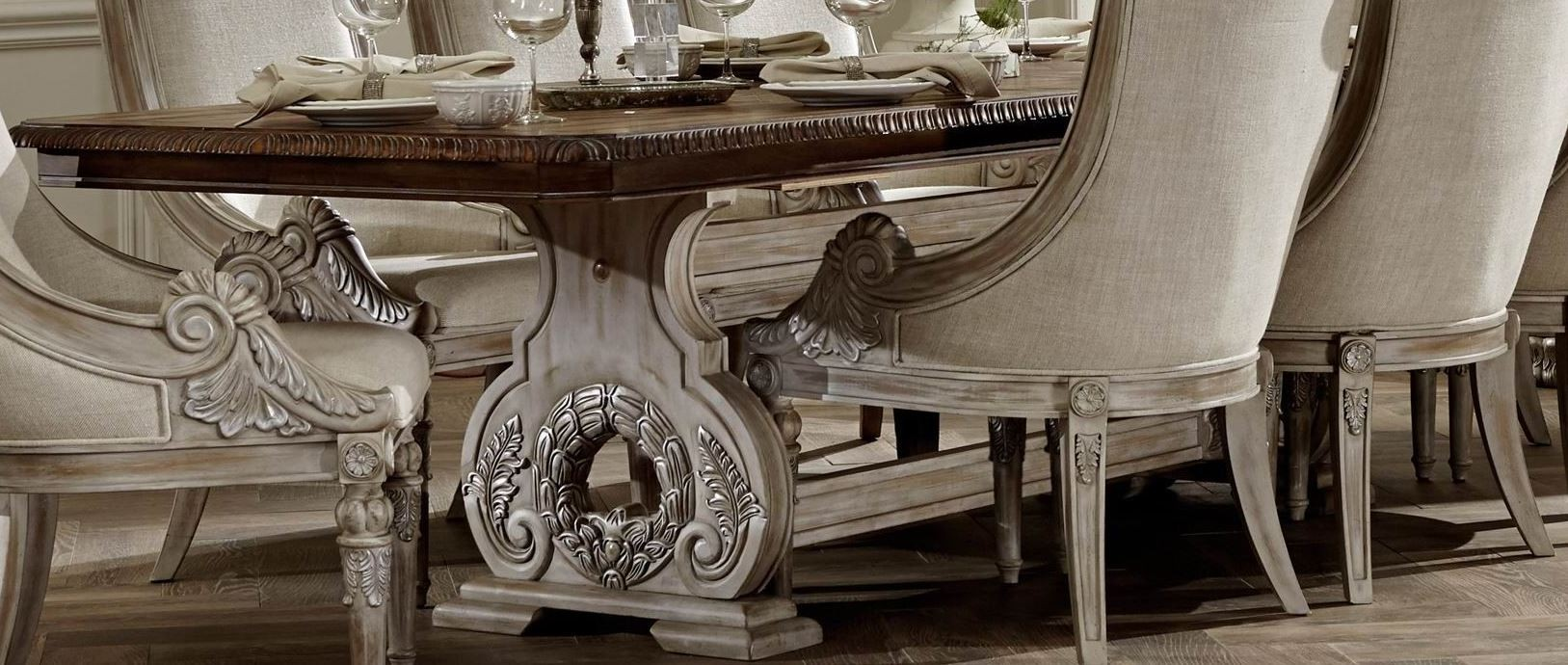 Orleans II White Wash Extendable Trestle Dining Room Set From Homelegance  (2168WW 118) | Coleman Furniture