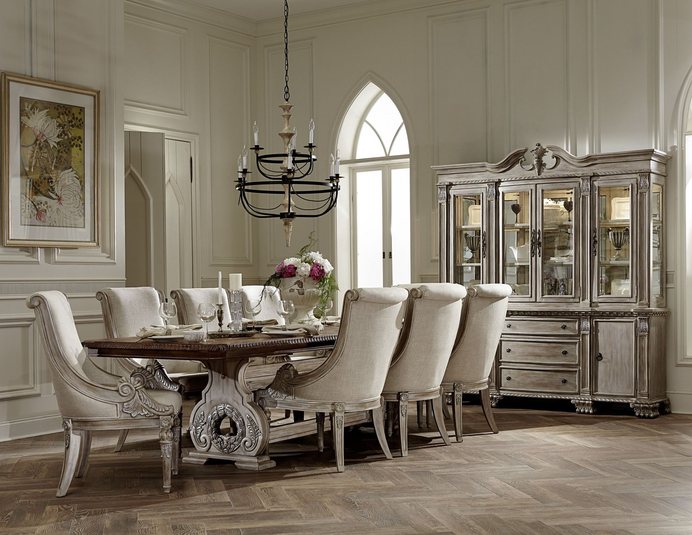 Gl Dining Room Set | Orleans Ii White Wash Extendable Trestle Dining Room Set From