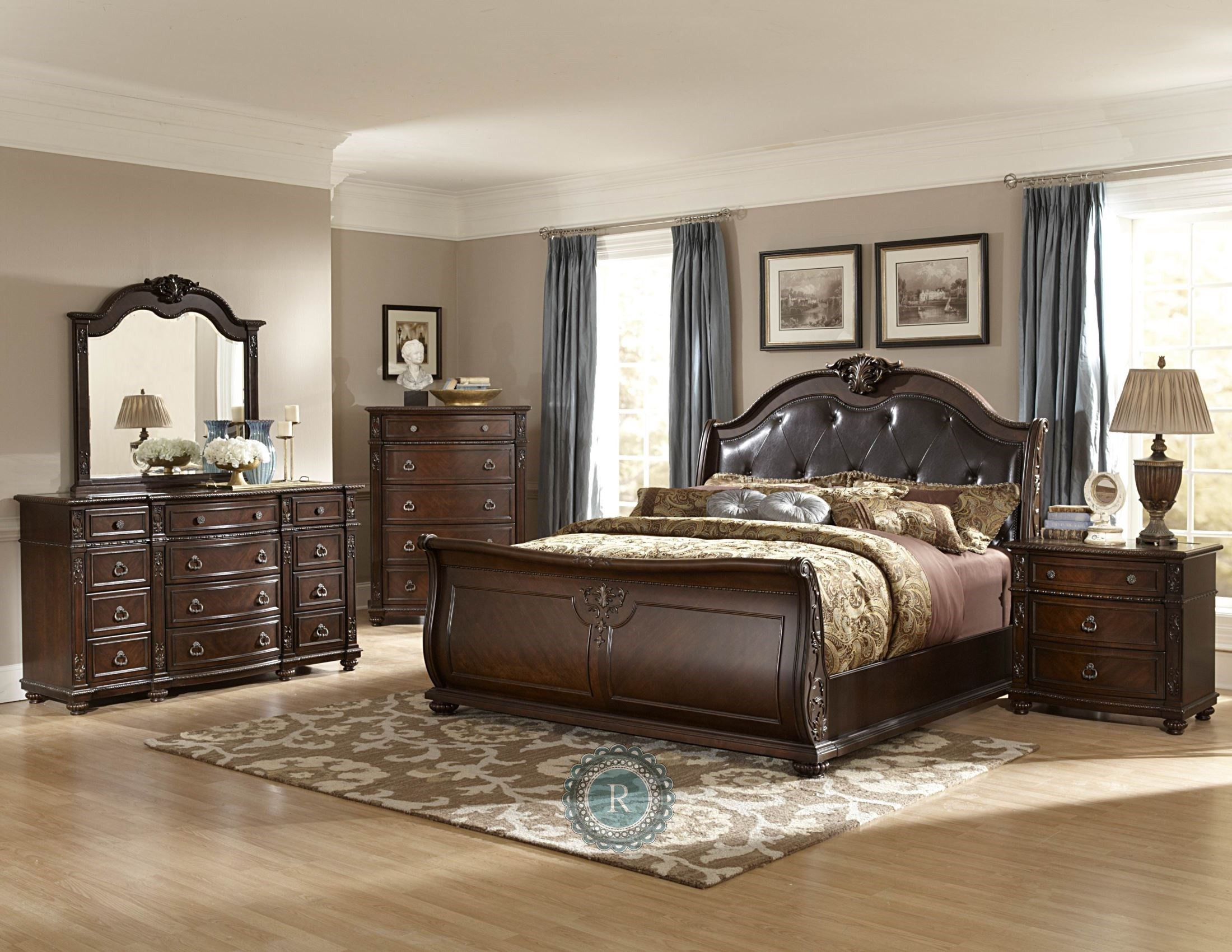 leather bedroom set hillcrest manor genuine leather sleigh bedroom set from 12067