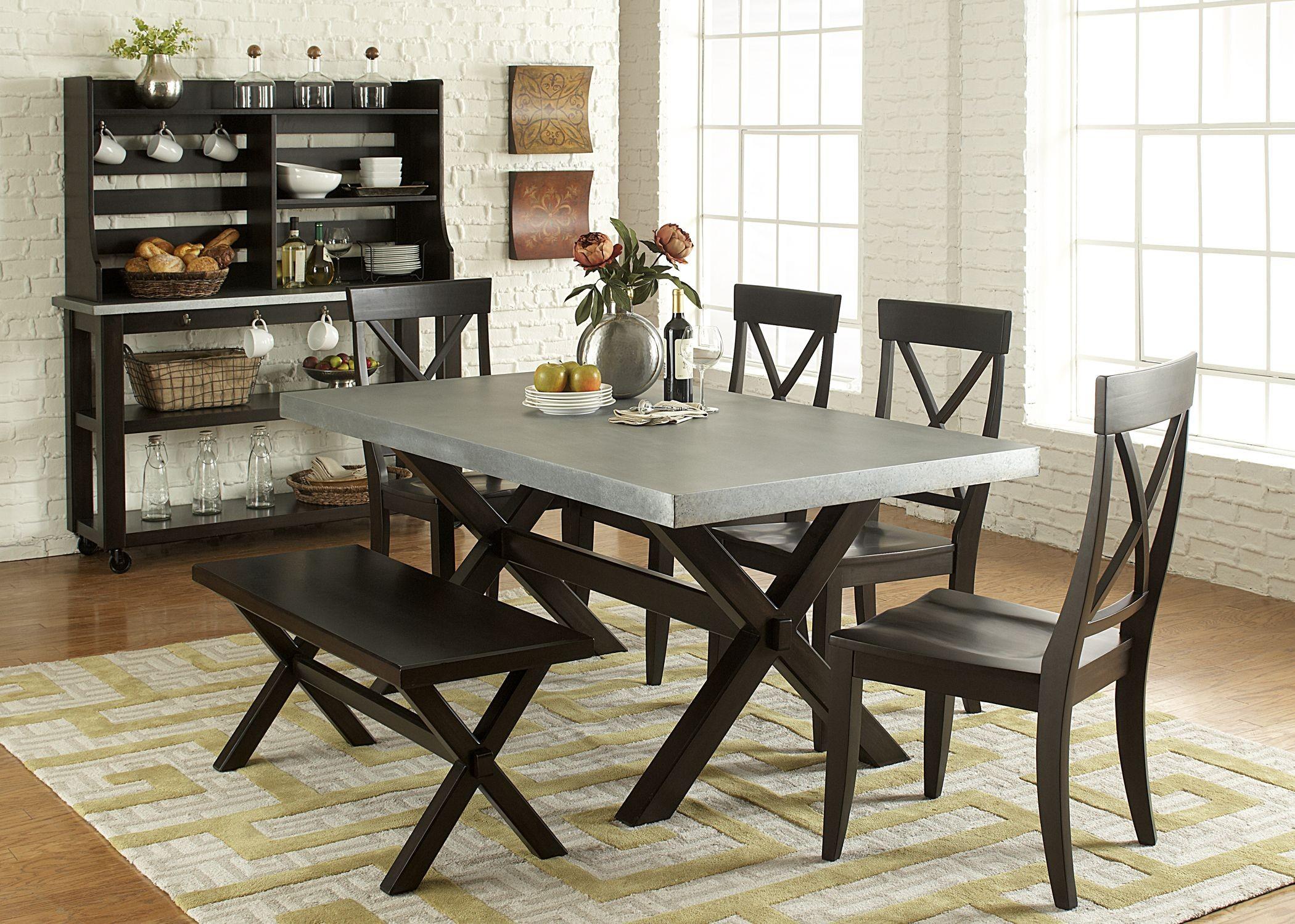 Keaton ii charcoal trestle dining room set from liberty for Trestle dining room sets