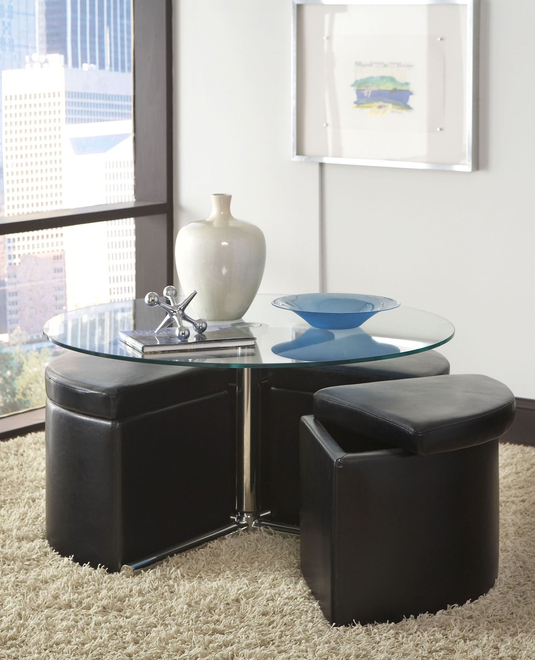 Merihill Coffee Table With Ottoman: Cosmo Dark Chocolate Round Glass Cocktail Table With