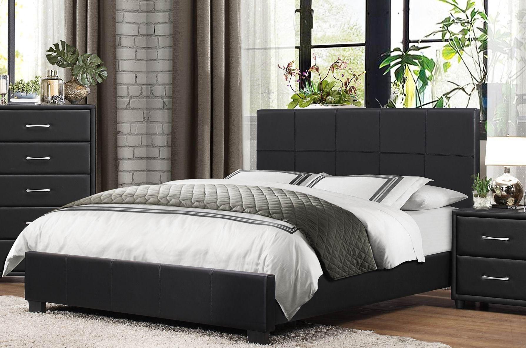 Lorenzi Black Queen Upholstered Platform Bed From