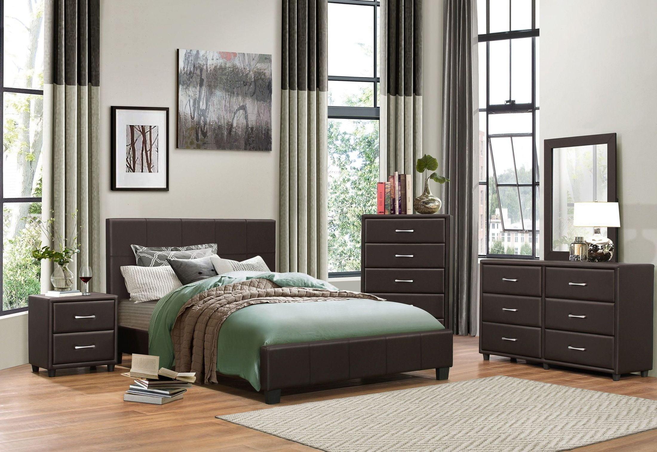 Lorenzi Dark Brown Upholstered Platform Bedroom Set From