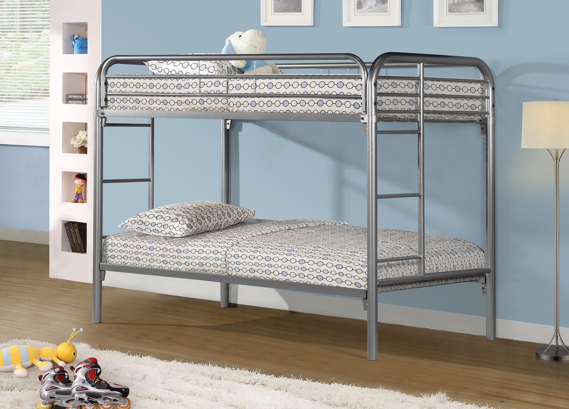 Silver Metal Twin Over Twin Bunk Bed From Monarch 2230s