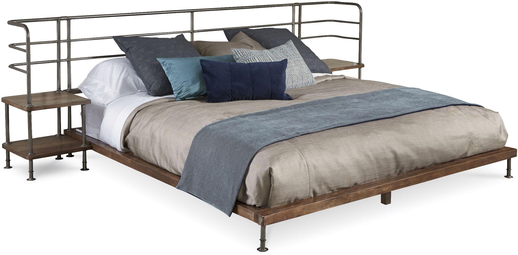 Epicenters light oak king platform bed with 2 nightstands for Lighted platform bed