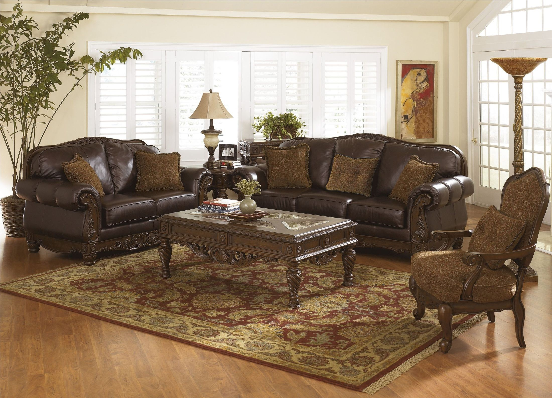 North shore dark brown living room set from ashley 22603 for Dark brown living room set