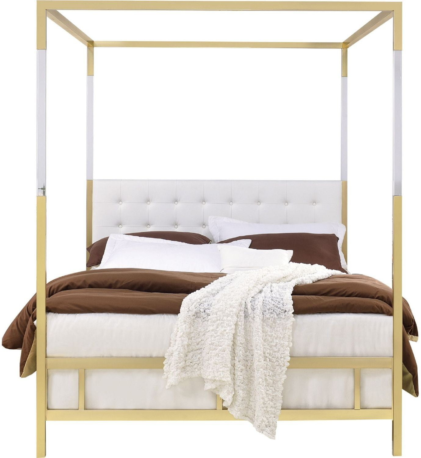 Raegan White Gold Queen Upholstered Canopy Metal Bed & Raegan White Gold Queen Upholstered Canopy Metal Bed from Acme ...