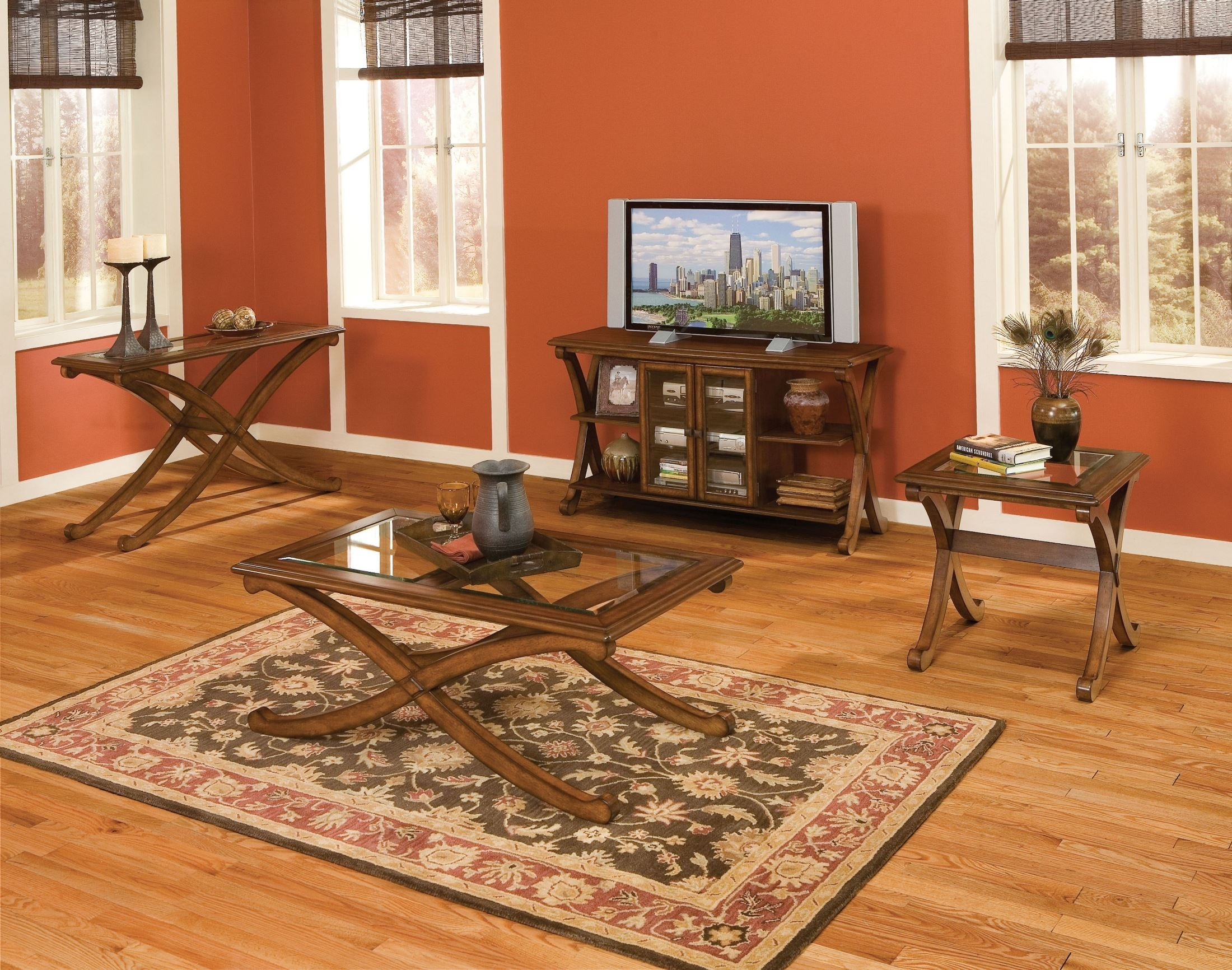 Madrid Golden Brown Cherry Occasional Table Set From Standard Furniture Coleman Furniture