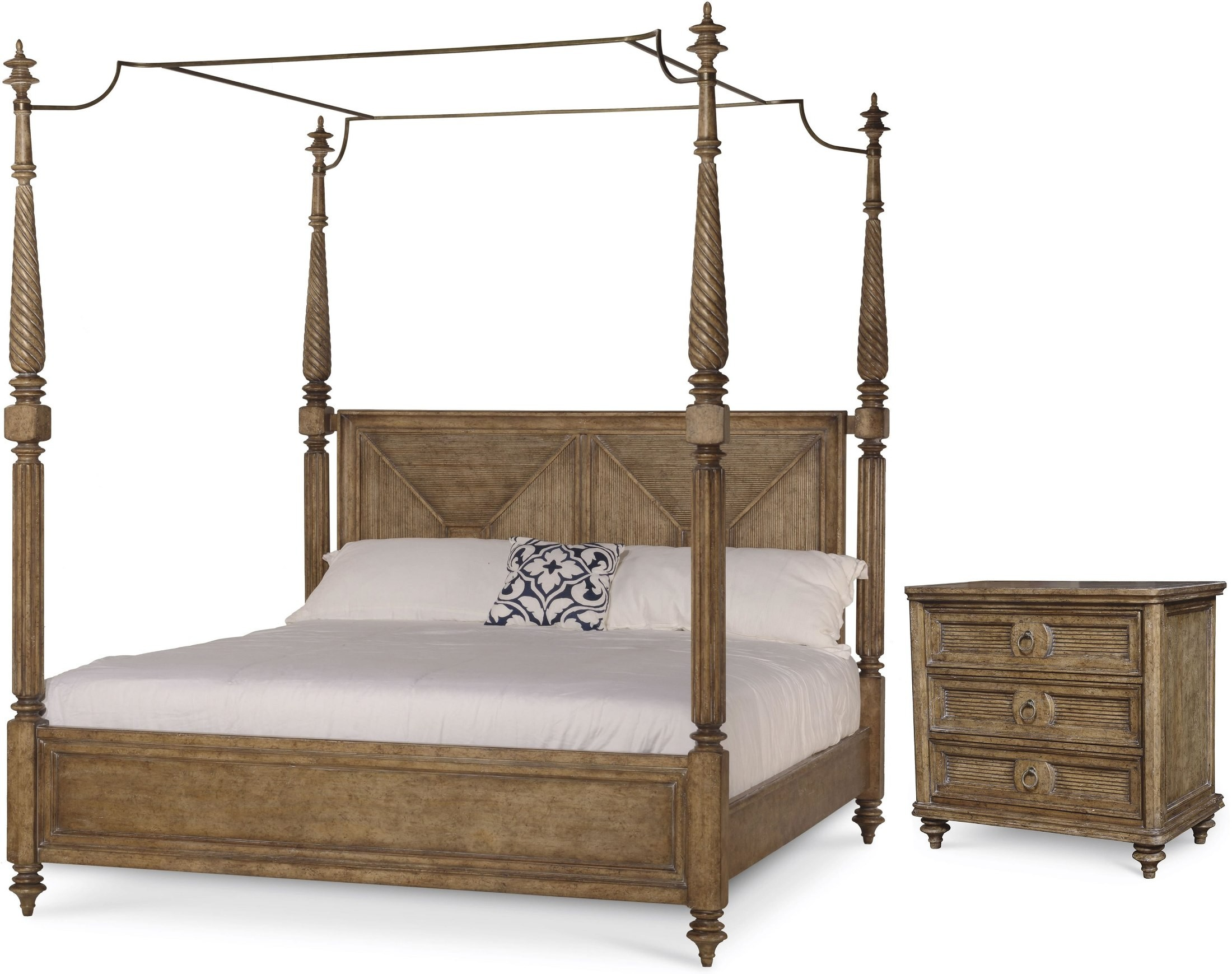 Pavilion Brown King Poster Bed With Canopy And Posts From