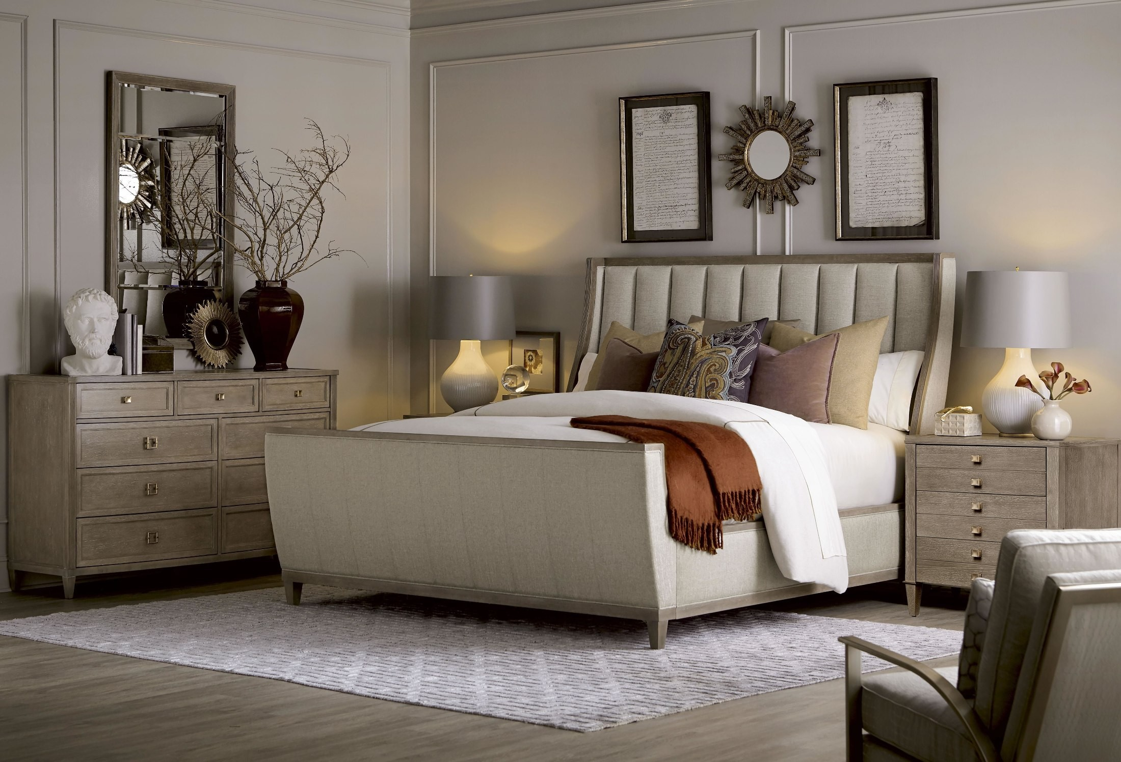 cityscapes stone chelsea upholstered sleigh bedroom set from art