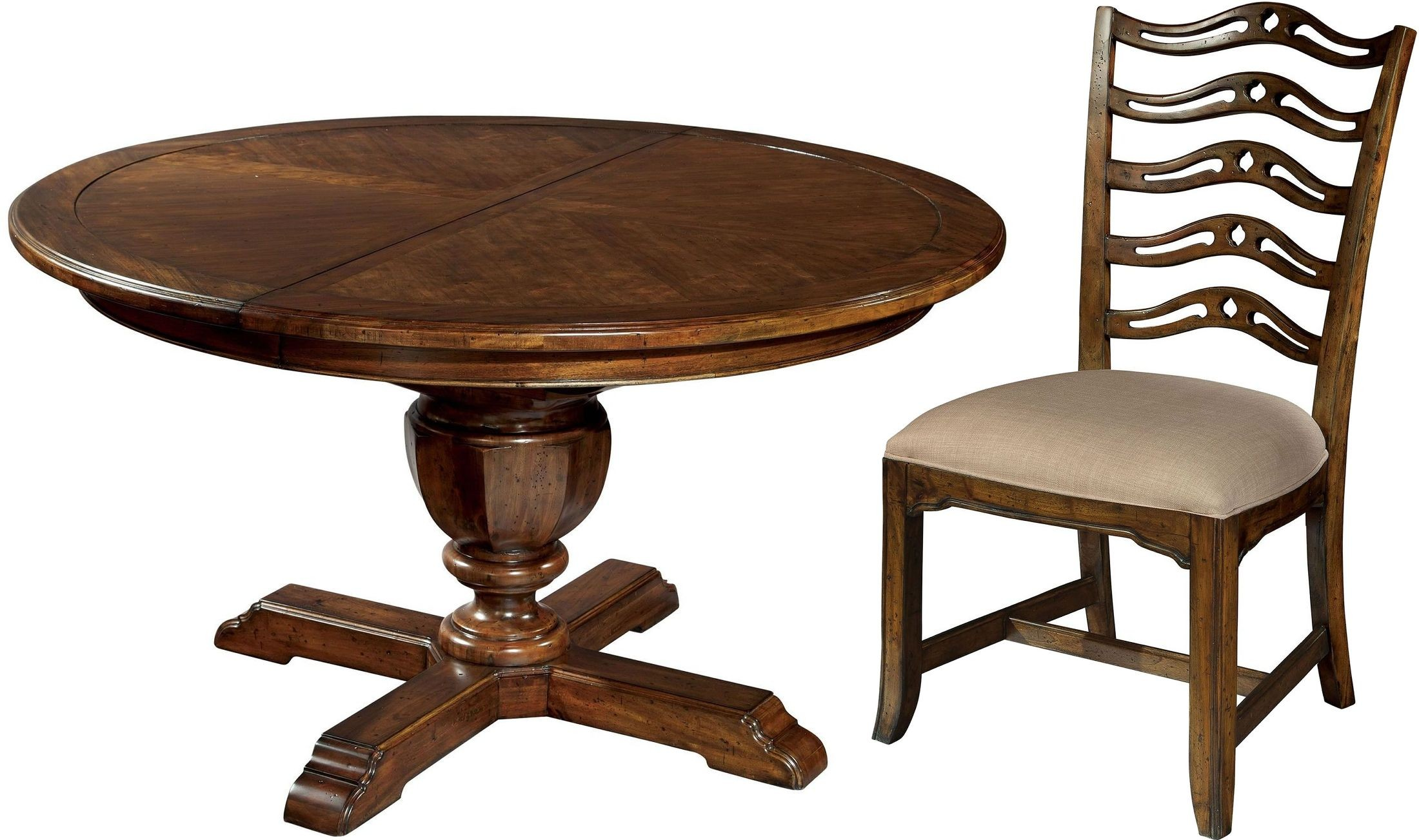 Vintage european brown round dining room set from hekman for Brown dining room set