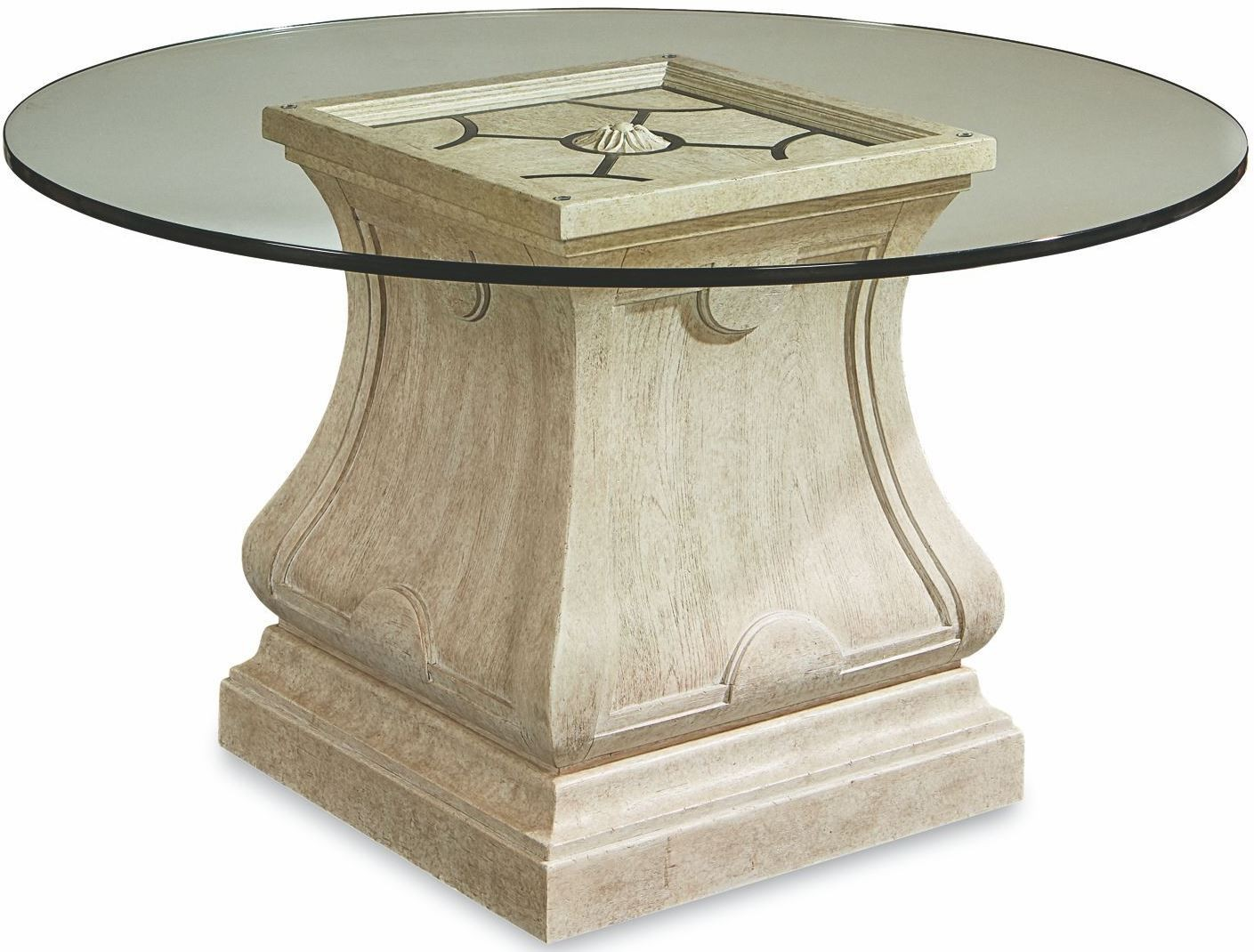"""Arch Salvage Parchment Leoni Round Dining 54"""" Glass Top"""