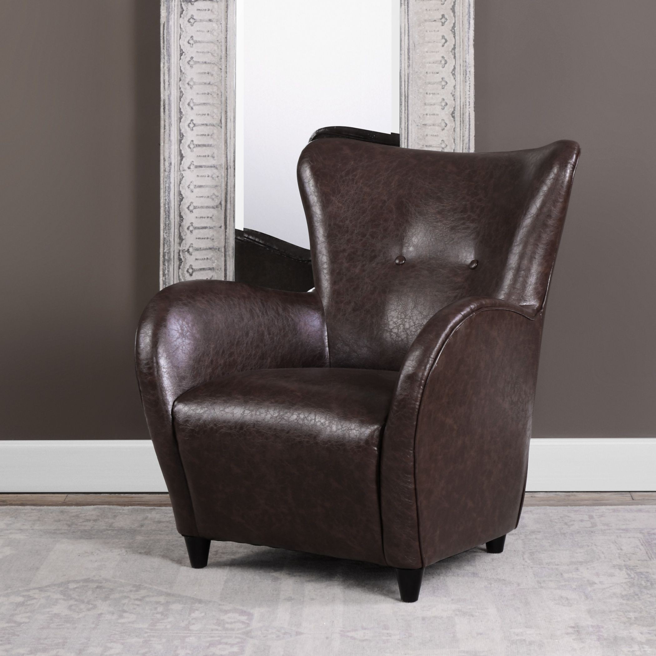 Amron Brown Leather Accent Chair Accent Chairs Brown: Lyric Brown Leather Accent Chair, 23335, Uttermost