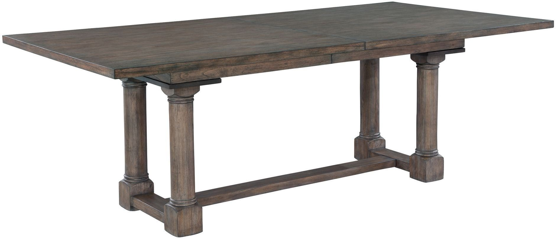 lincoln park gray trestle extendable dining table from hekman furniture coleman furniture. Black Bedroom Furniture Sets. Home Design Ideas