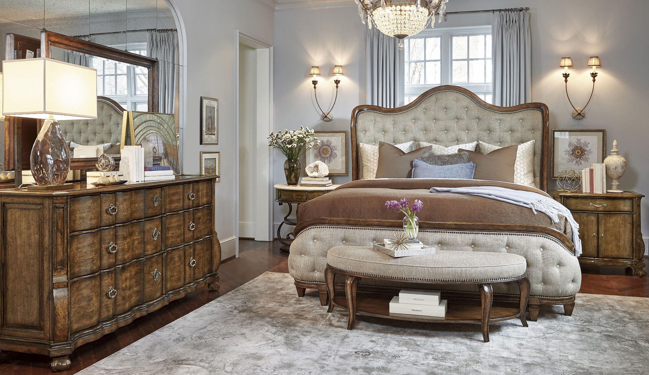 Continental Weathered Nutmeg Upholstered Shelter Bedroom Set From Art Coleman Furniture