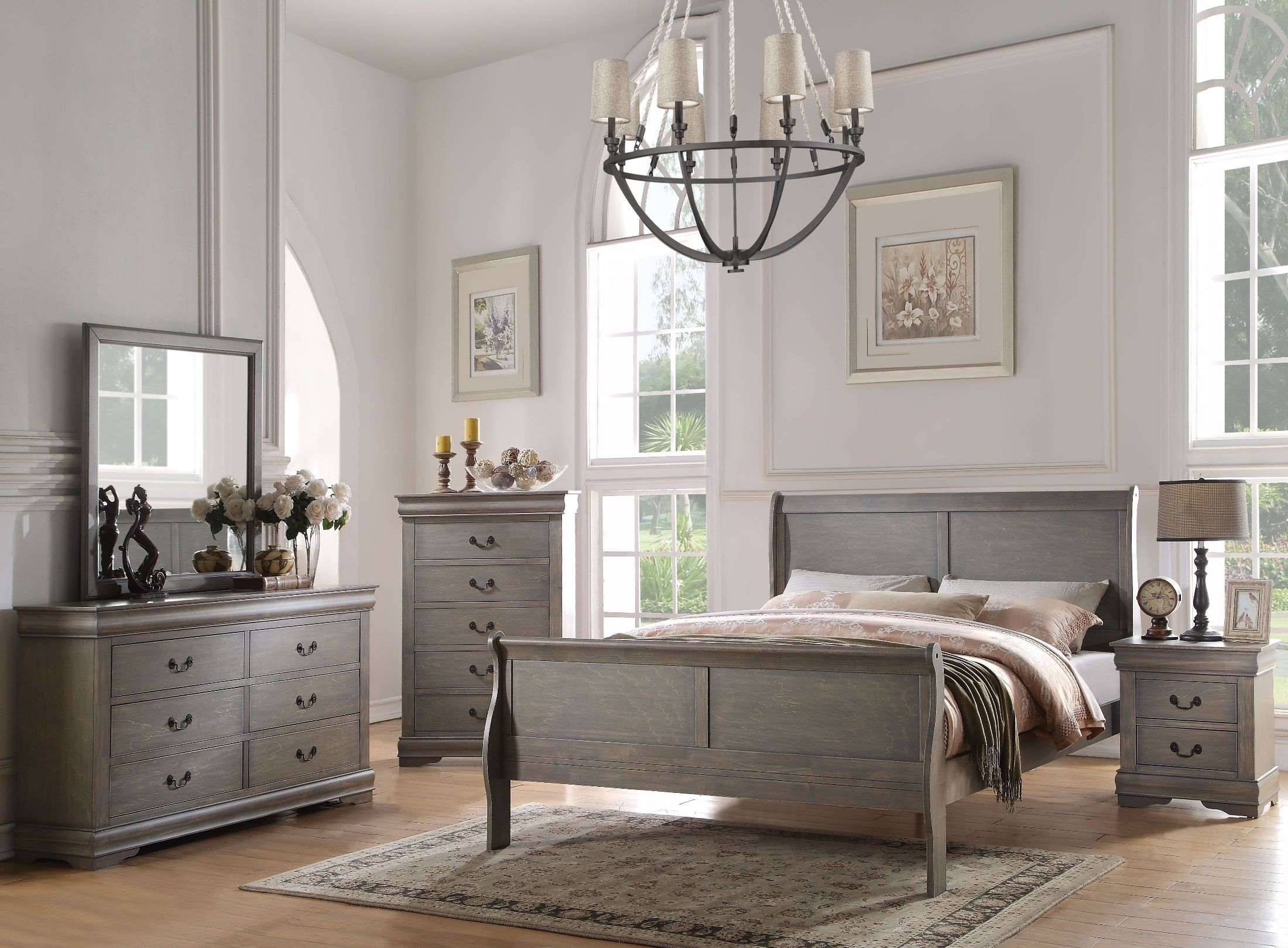 Louis Philippe Antique Gray Sleigh Bedroom Set From Acme | Coleman Furniture