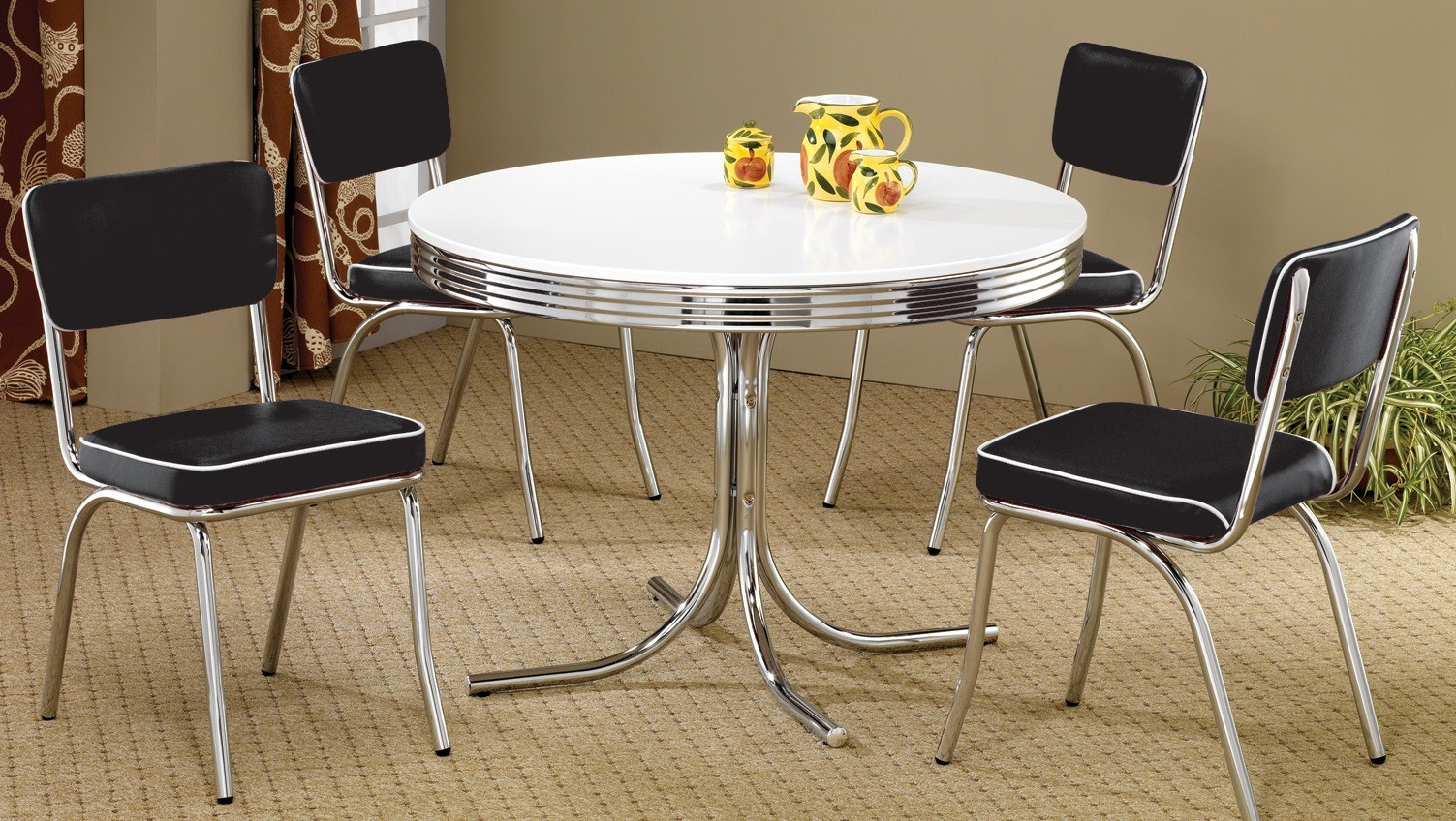 vintage dining room sets 2388 retro chrome retro dining room set from coaster 22580