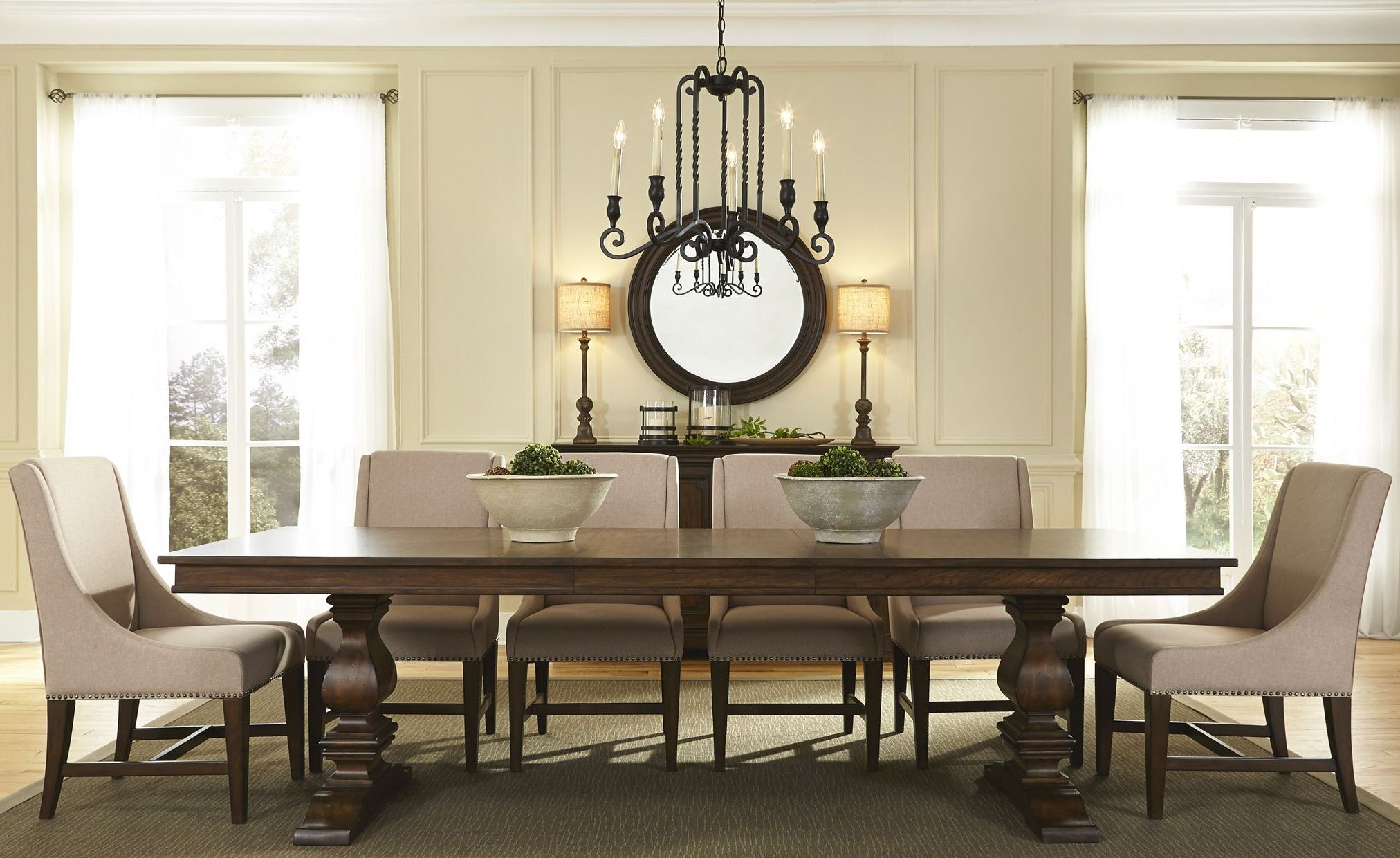 Armand brown extendable pedestal dining room set from for Brown dining room set