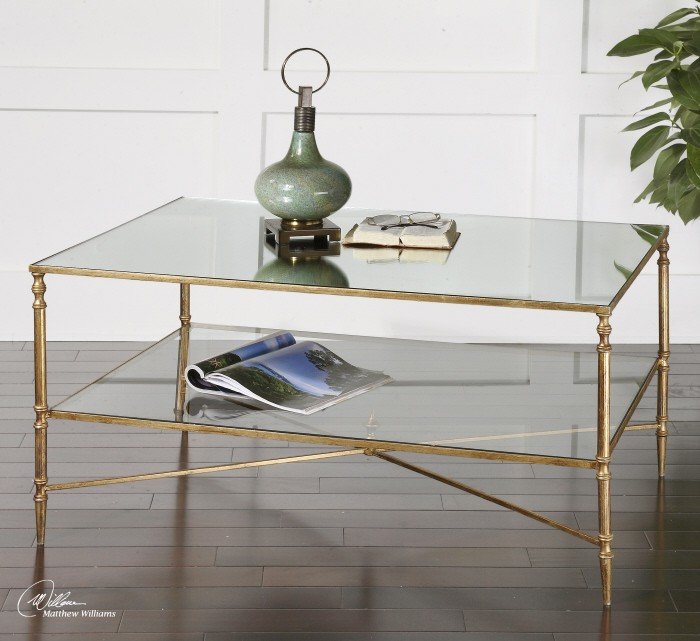 Coffee Table Legs Gold: Henzler Mirrored Glass Coffee Table From Uttermost (24276