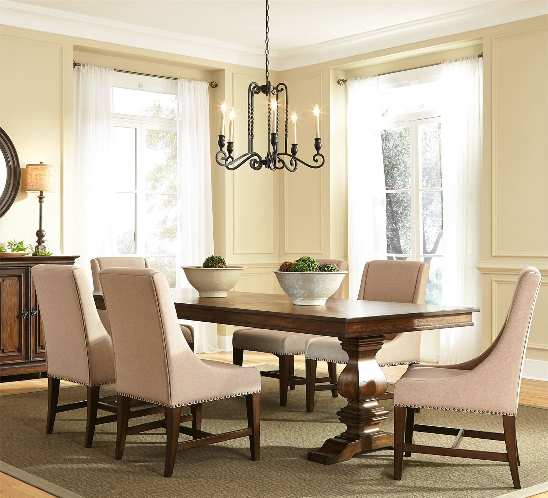Vintage Dining Room Set: Armand Antique Brownstone Extendable Trestle Dining Room