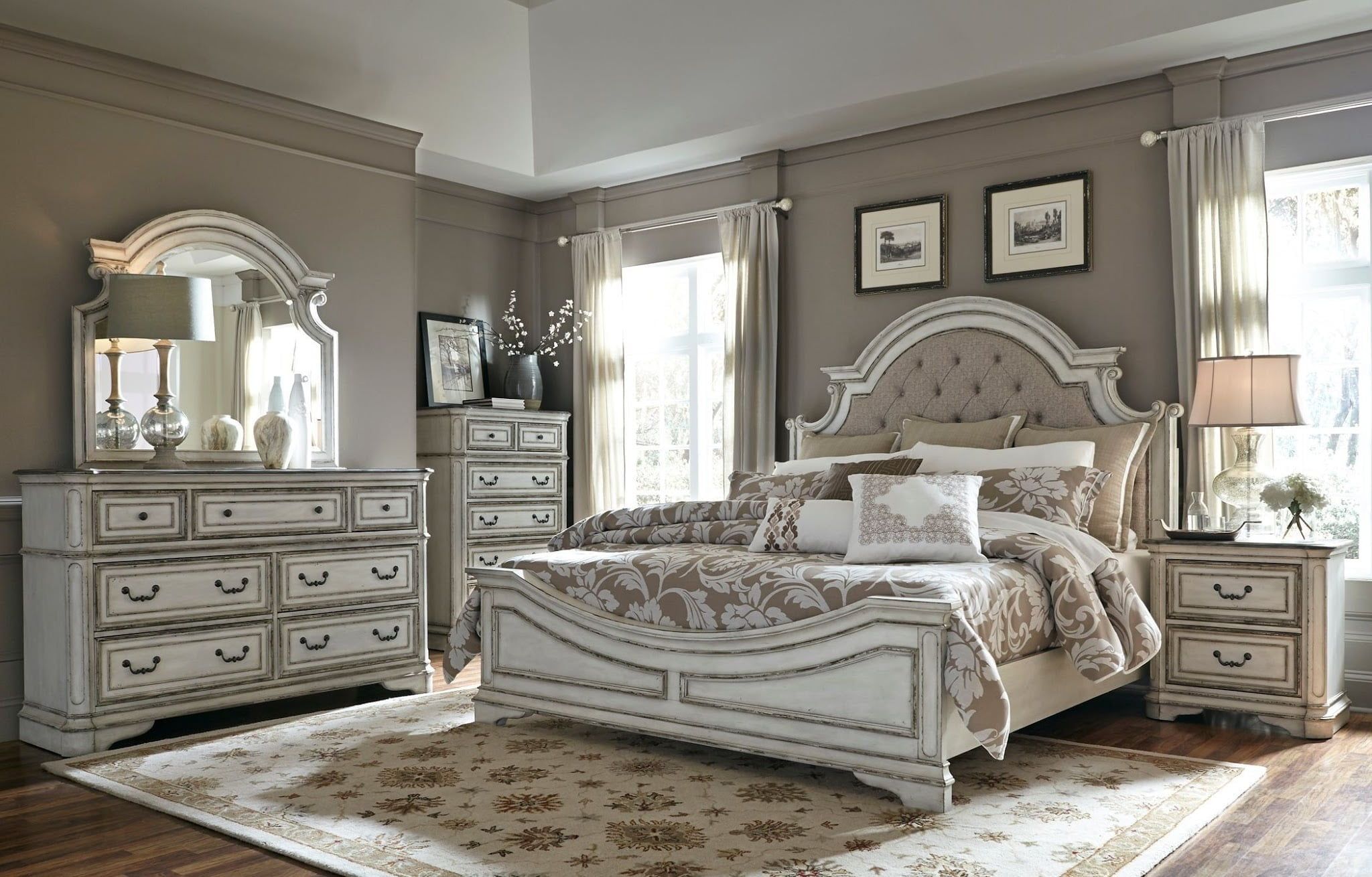 Magnolia Manor Antique White Upholstered Panel Bedroom