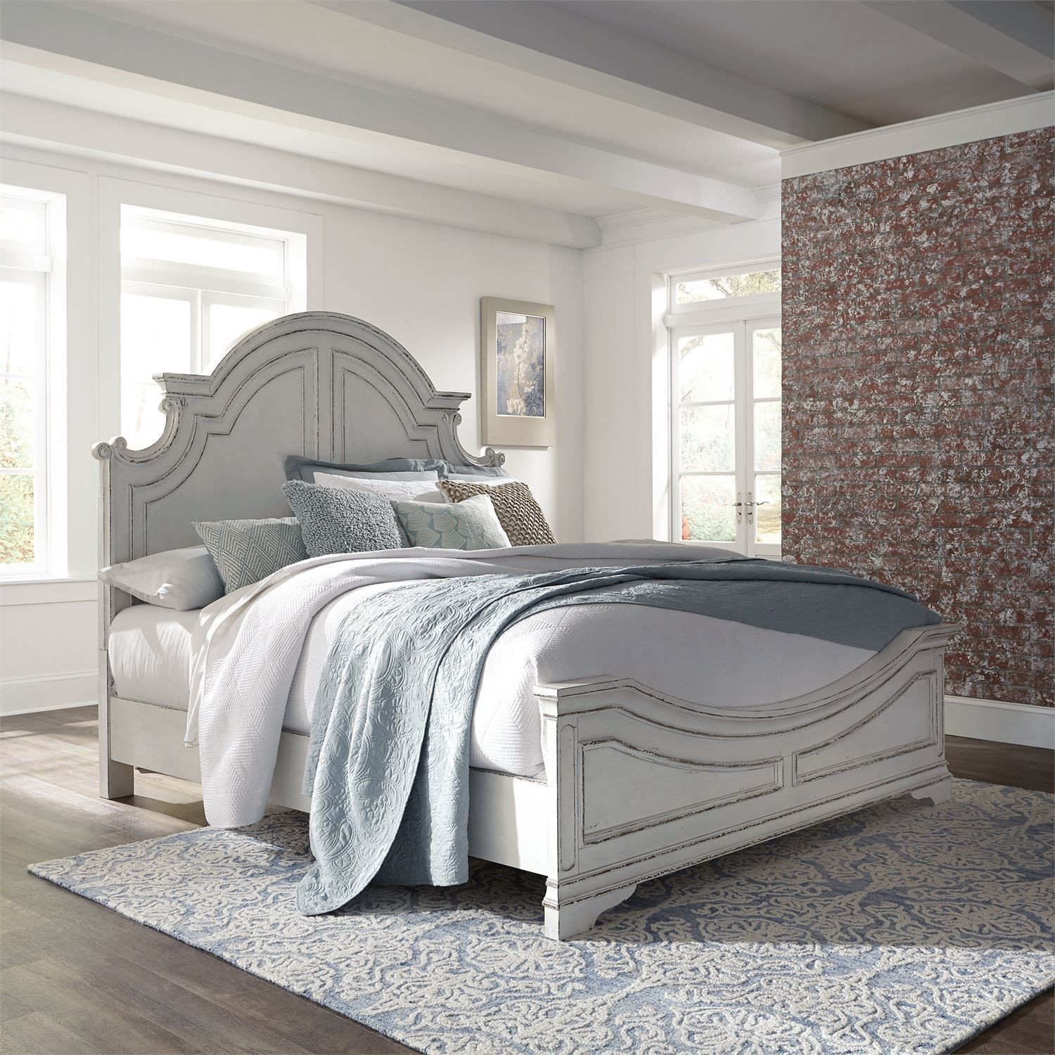 Magnolia Manor Antique White King Panel Bed From Liberty