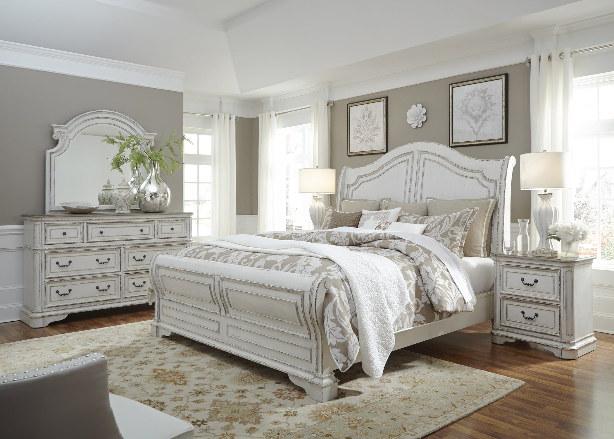 Magnolia manor antique white sleigh bedroom set from - White vintage bedroom furniture sets ...