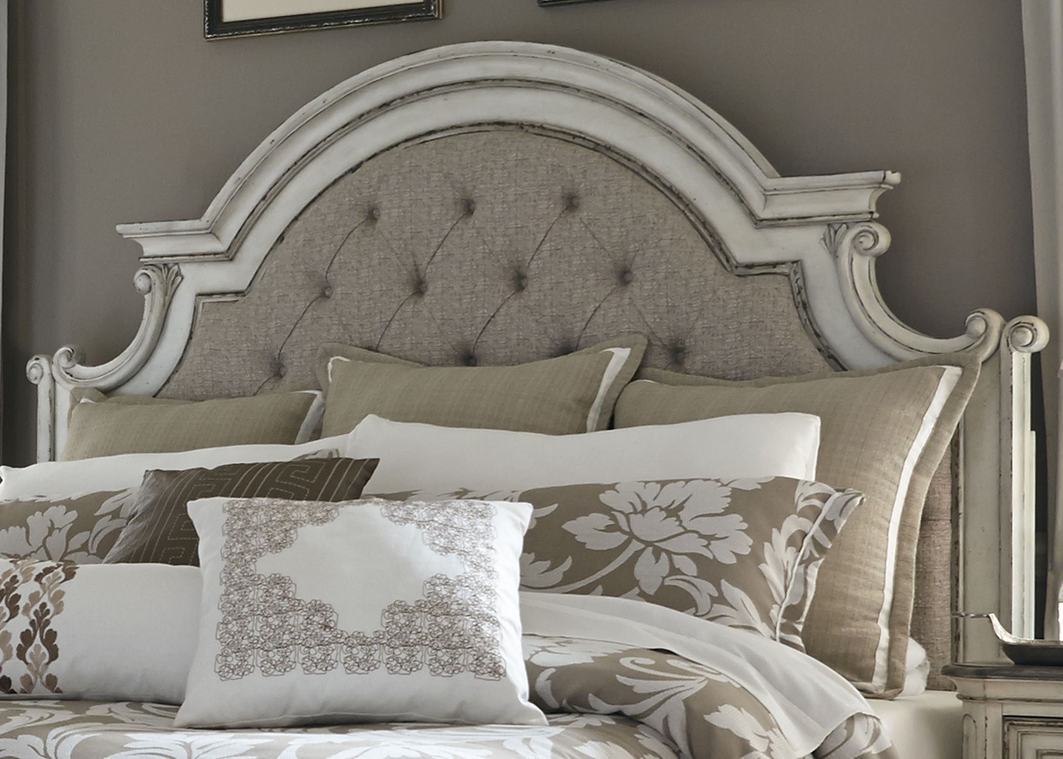 Magnolia Manor Antique White King Upholstered Panel Bed