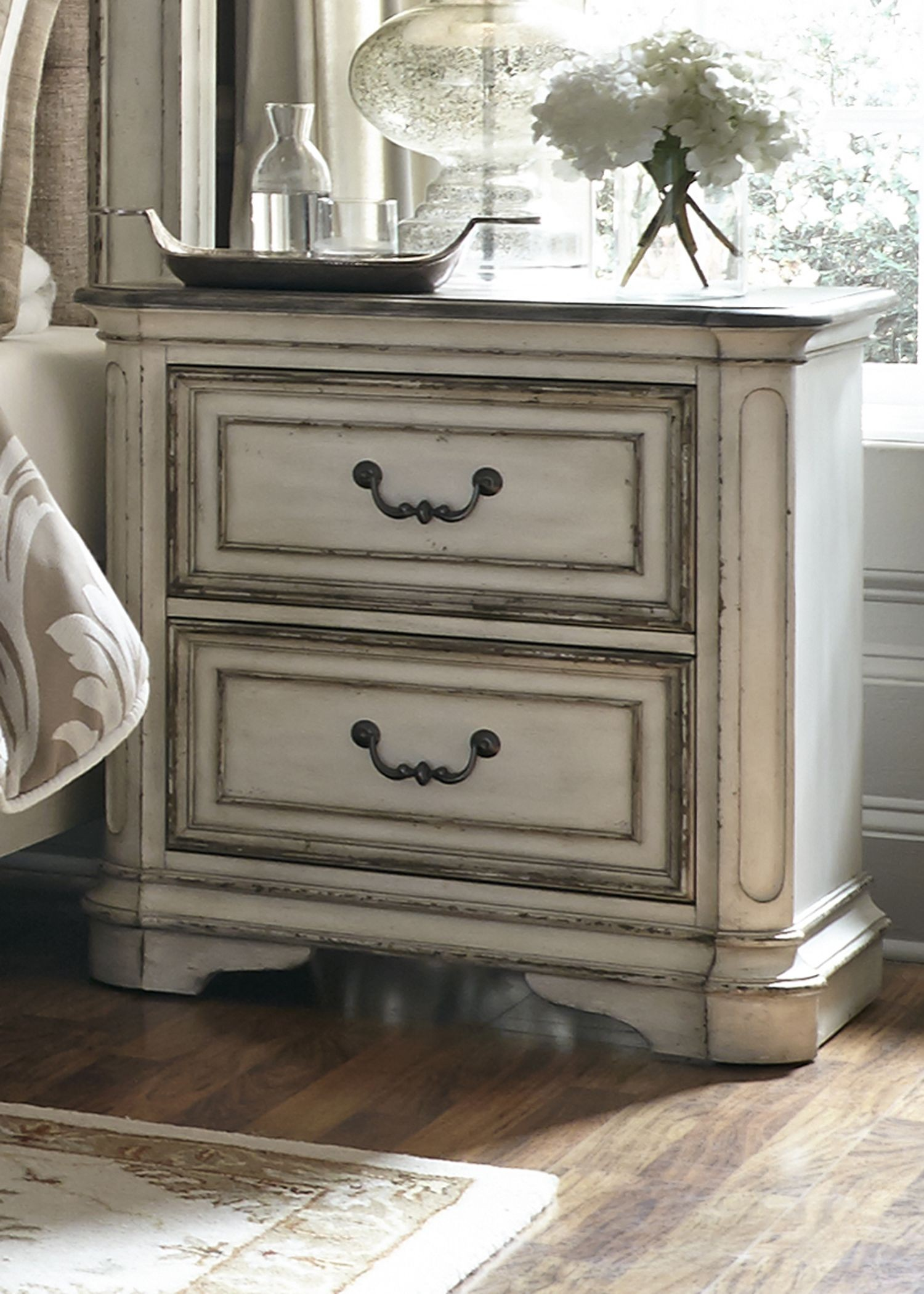 Magnolia Manor Antique White 2 Drawer Nightstand From