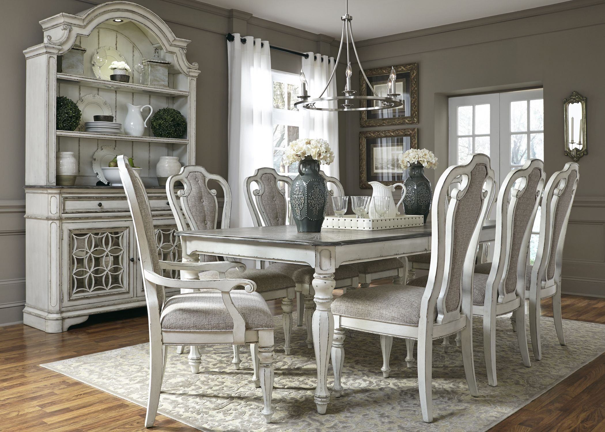 Magnolia manor antique white 108 extendable rectangular for White dining room furniture