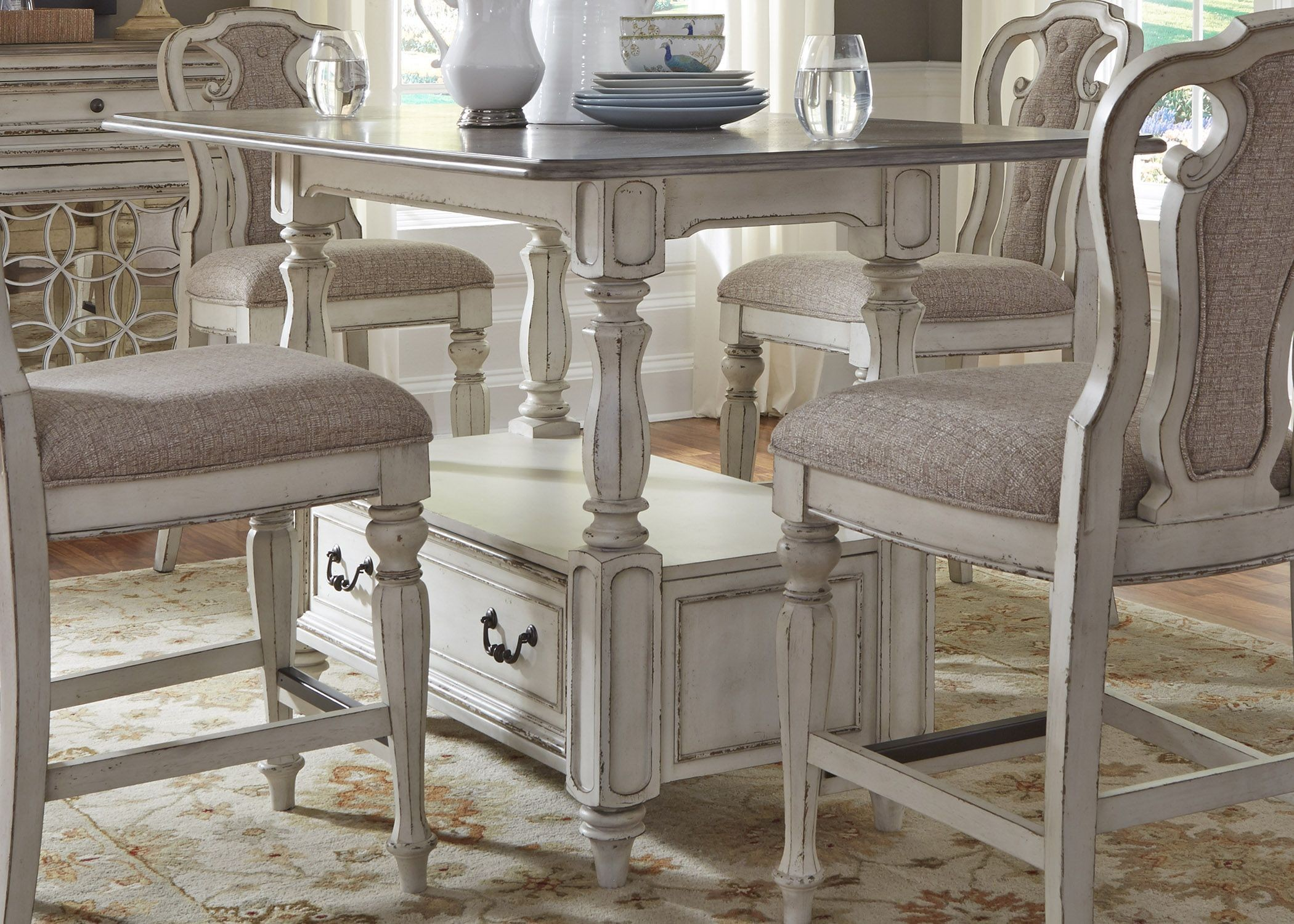magnolia manor antique white rectangular counter height dining table from liberty coleman. Black Bedroom Furniture Sets. Home Design Ideas