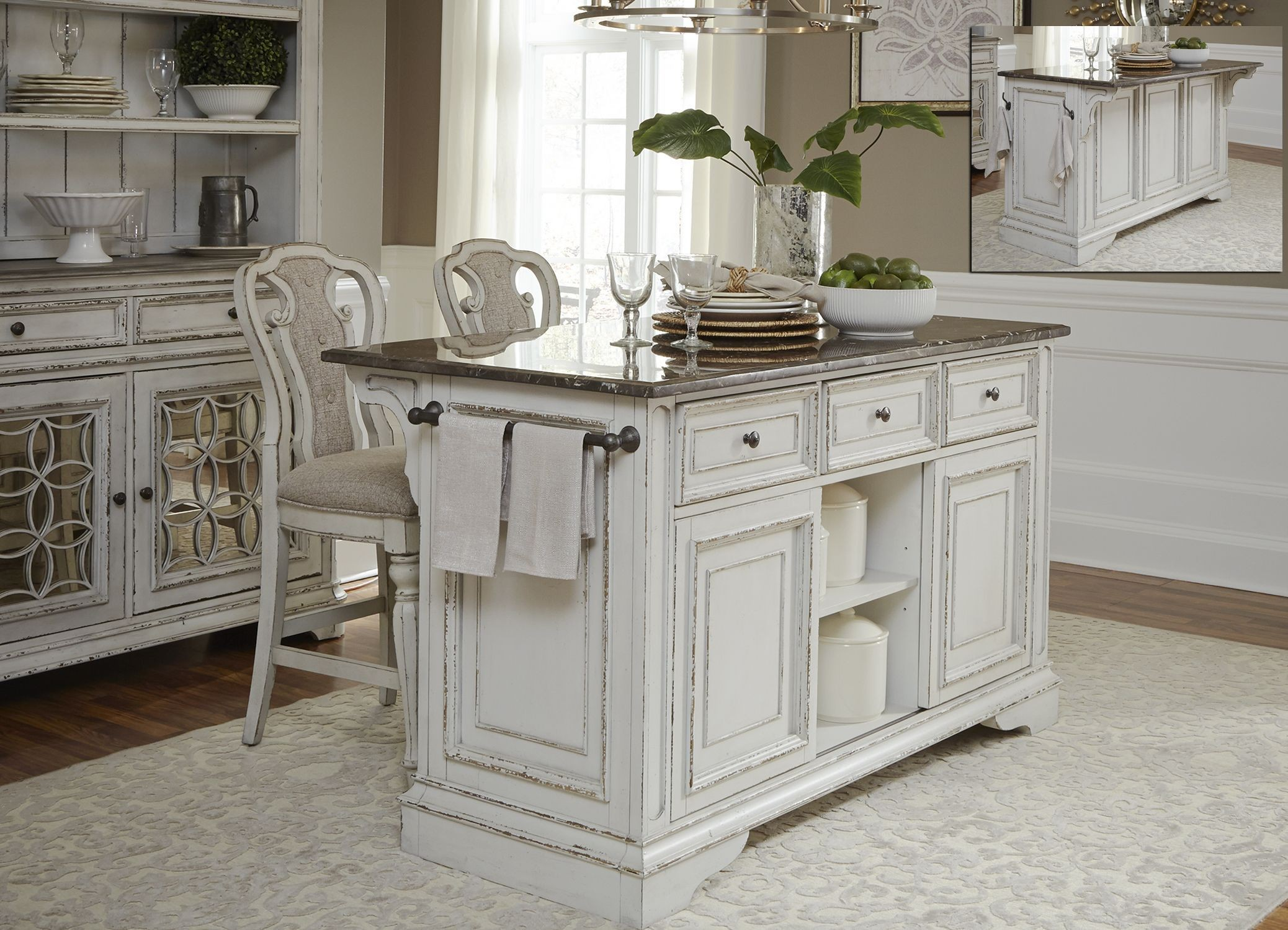 Magnolia manor antique white kitchen island set from for Antique kitchen island