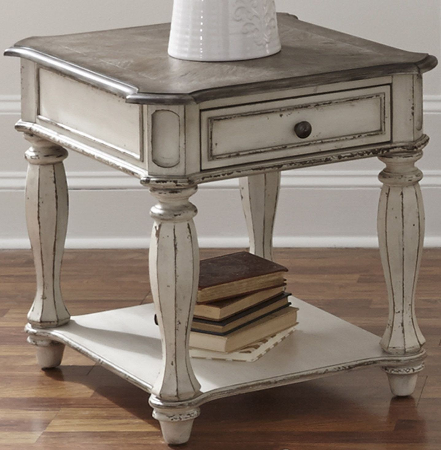 Magnolia manor antique white end table from liberty for White end table