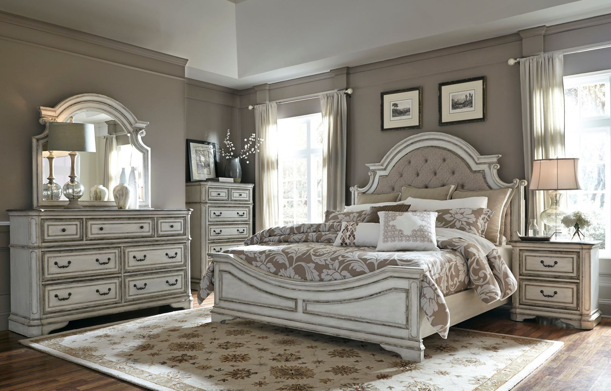 Magnolia Manor Antique White Upholstered Panel Bedroom Set From Liberty |  Coleman Furniture