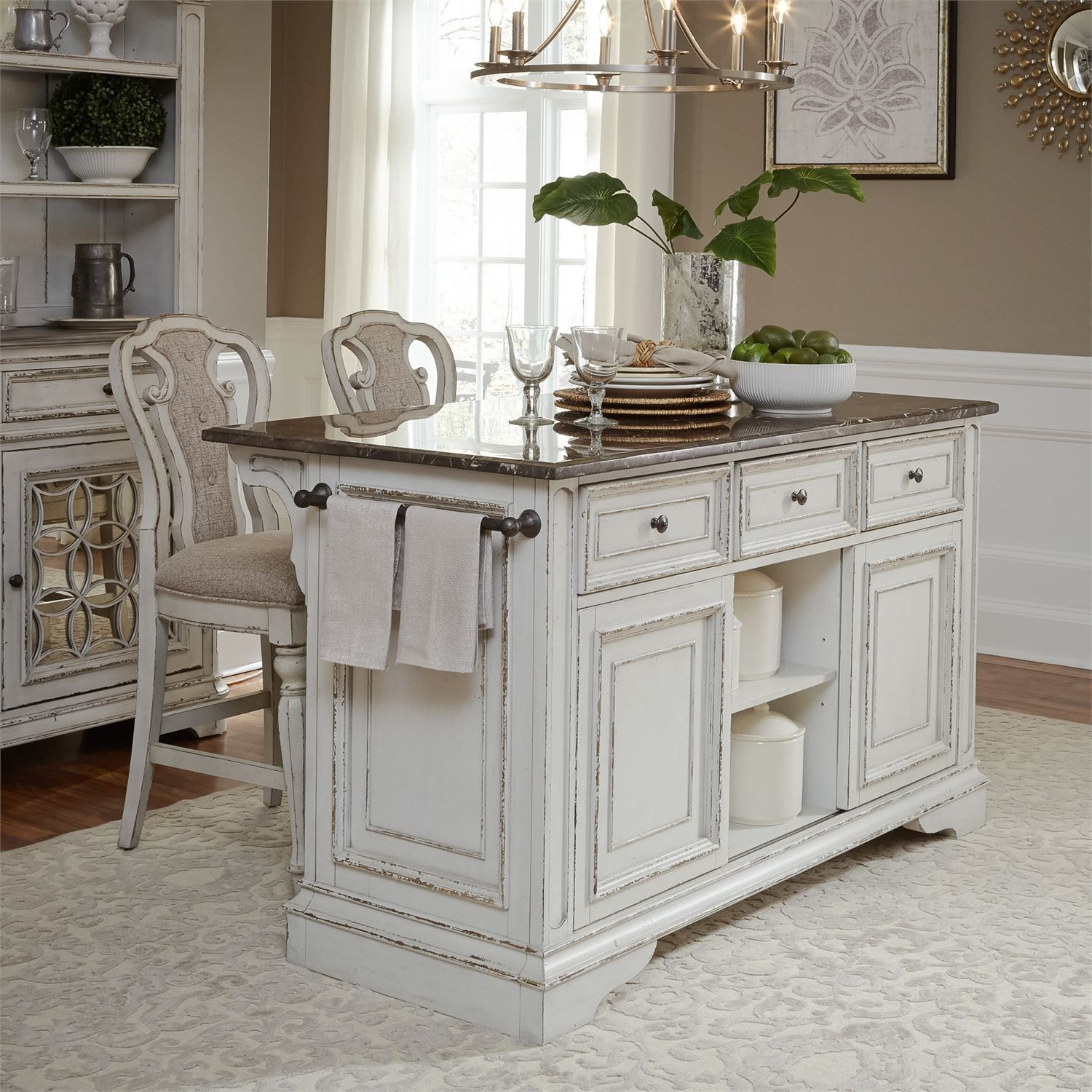 Kitchen Island Furniture: Magnolia Manor Antique White Kitchen Island Set From