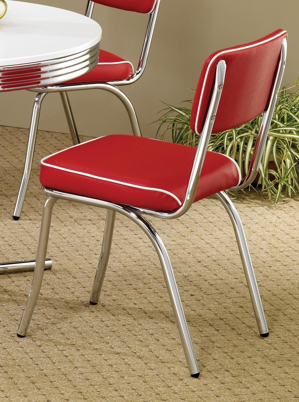 2450r Mix Amp Match Red Chrome Plated Retro Dining Chair Set