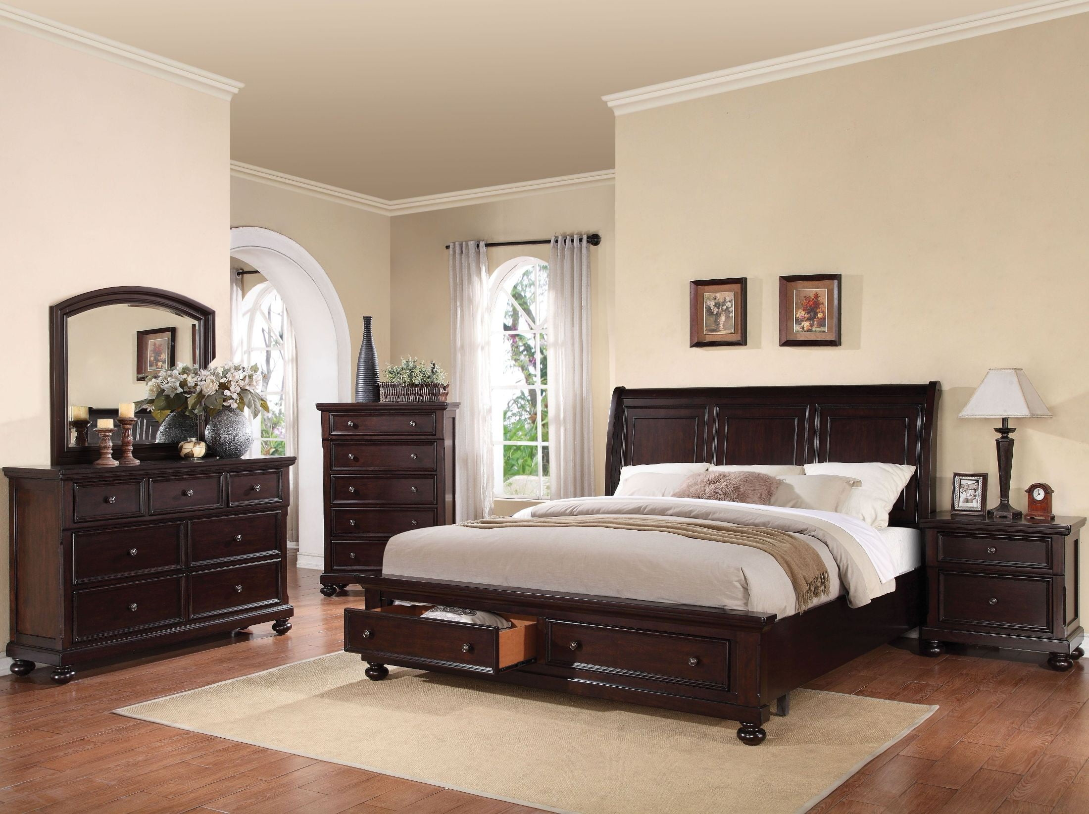 walnut bedroom set grayson walnut sleigh storage bedroom set from acme 13786