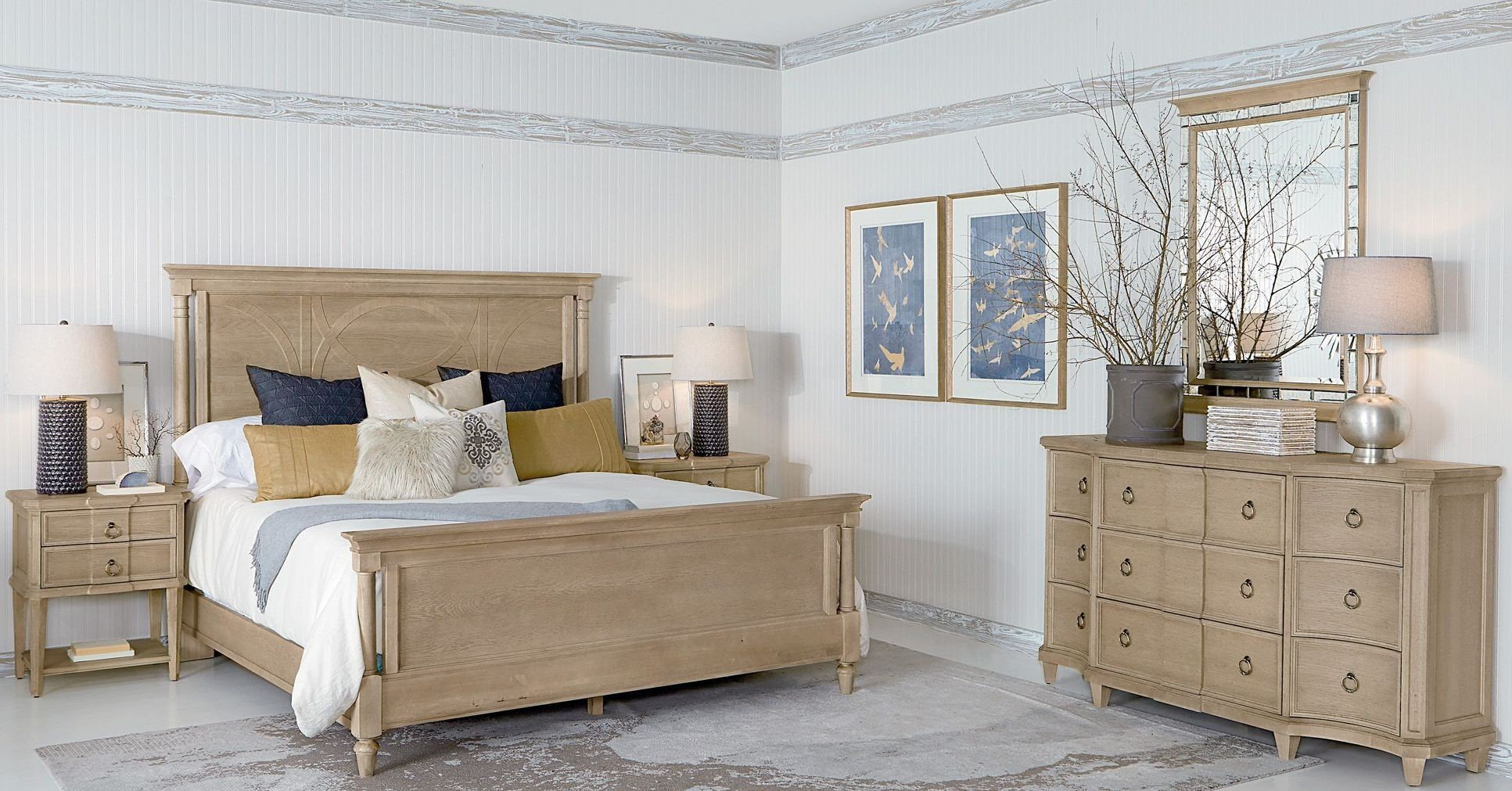 roseline light oak isla panel bedroom set from art coleman furniture. Black Bedroom Furniture Sets. Home Design Ideas