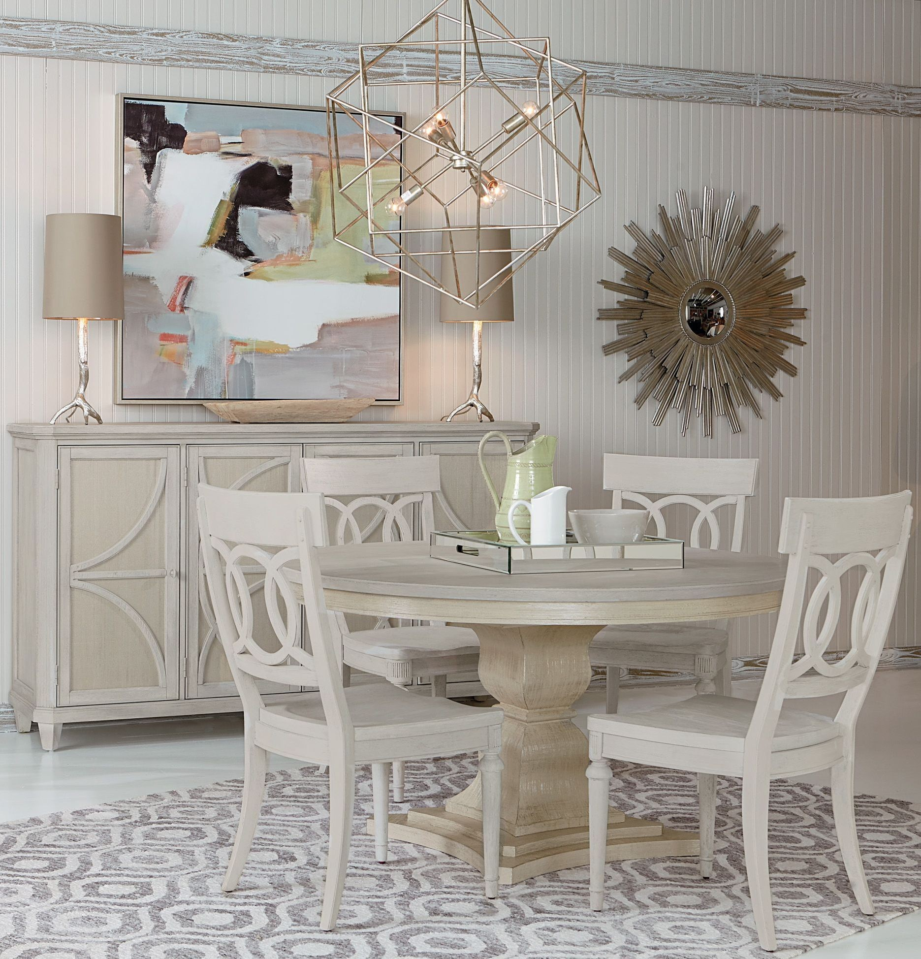 Circular Dining Room: Roseline Cream Enzo Round Dining Room Set From ART