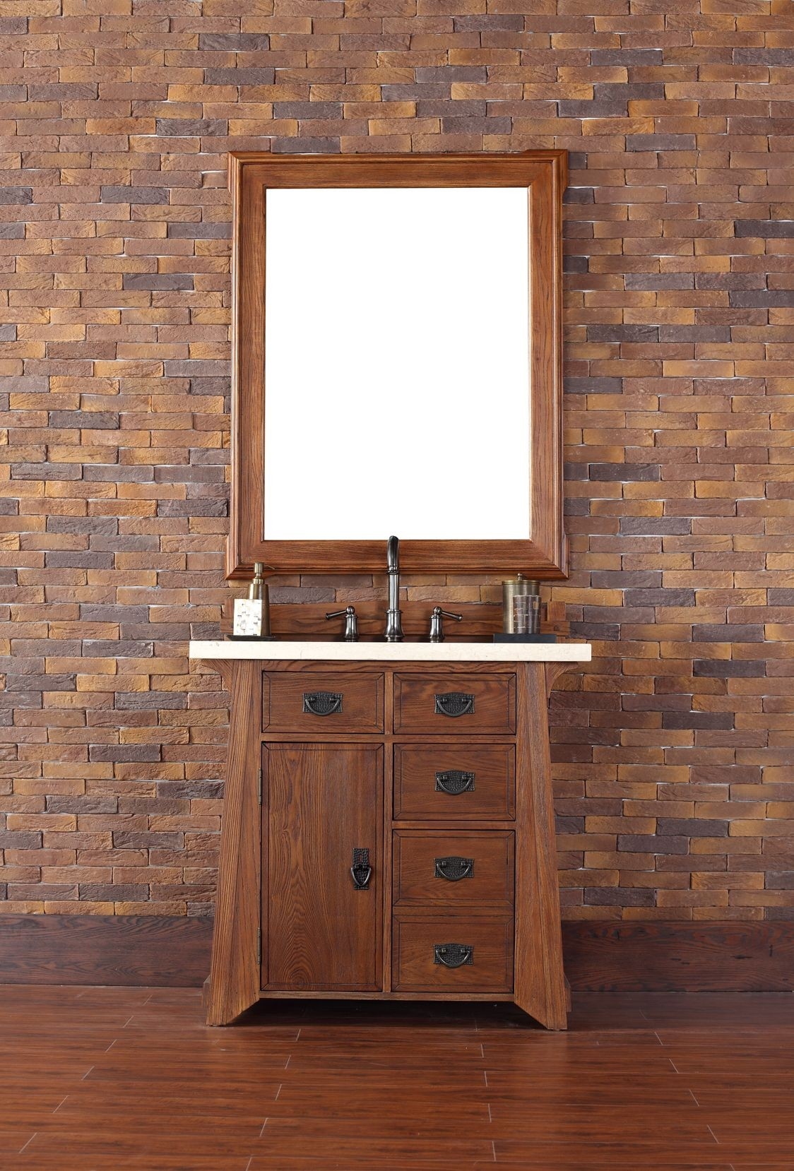 "36 Bathroom Vanity Long Island Ny: Pasadena 36"" Antique Oak Single Vanity With 4Cm Galala"
