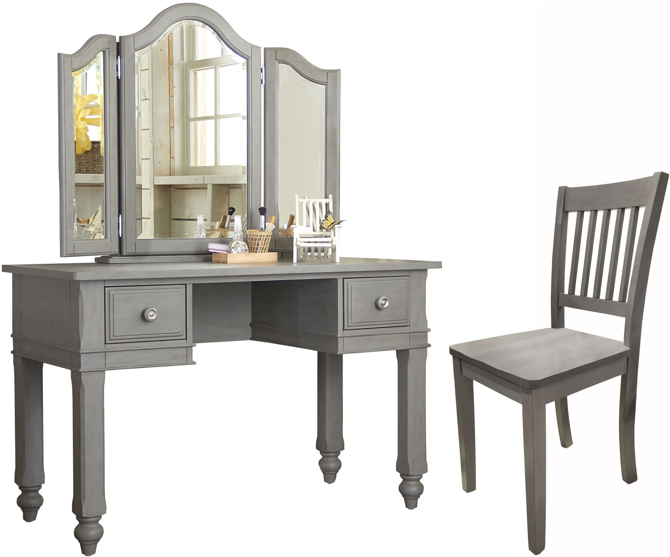 Lake house stone writing desk with vanity mirror chair for Vanity mirror and desk