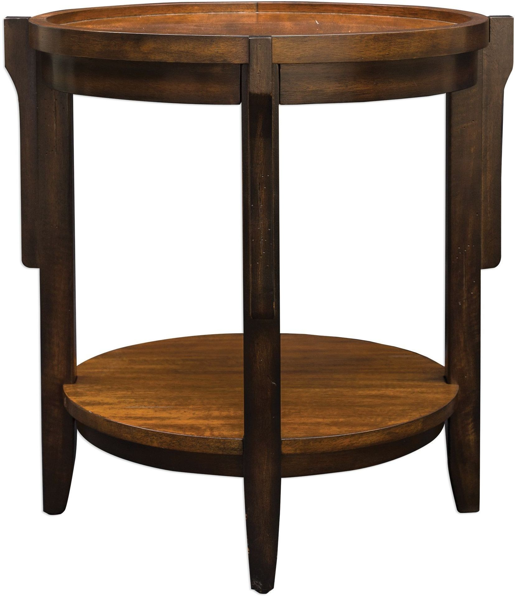 Sigmon black round wooden end table from uttermost for Black round end table