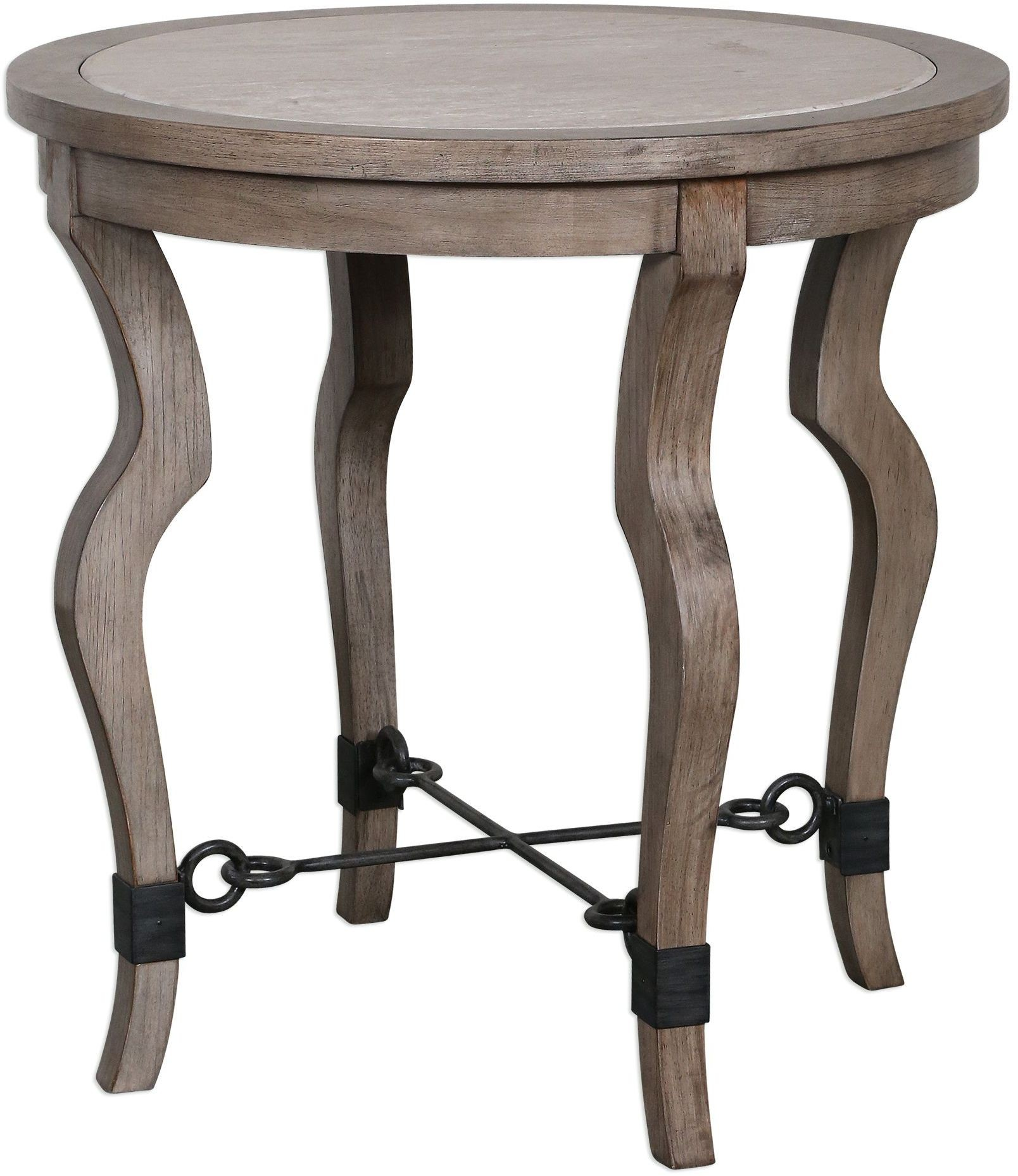 Blanche brown travertine lamp table from uttermost for Table blanche