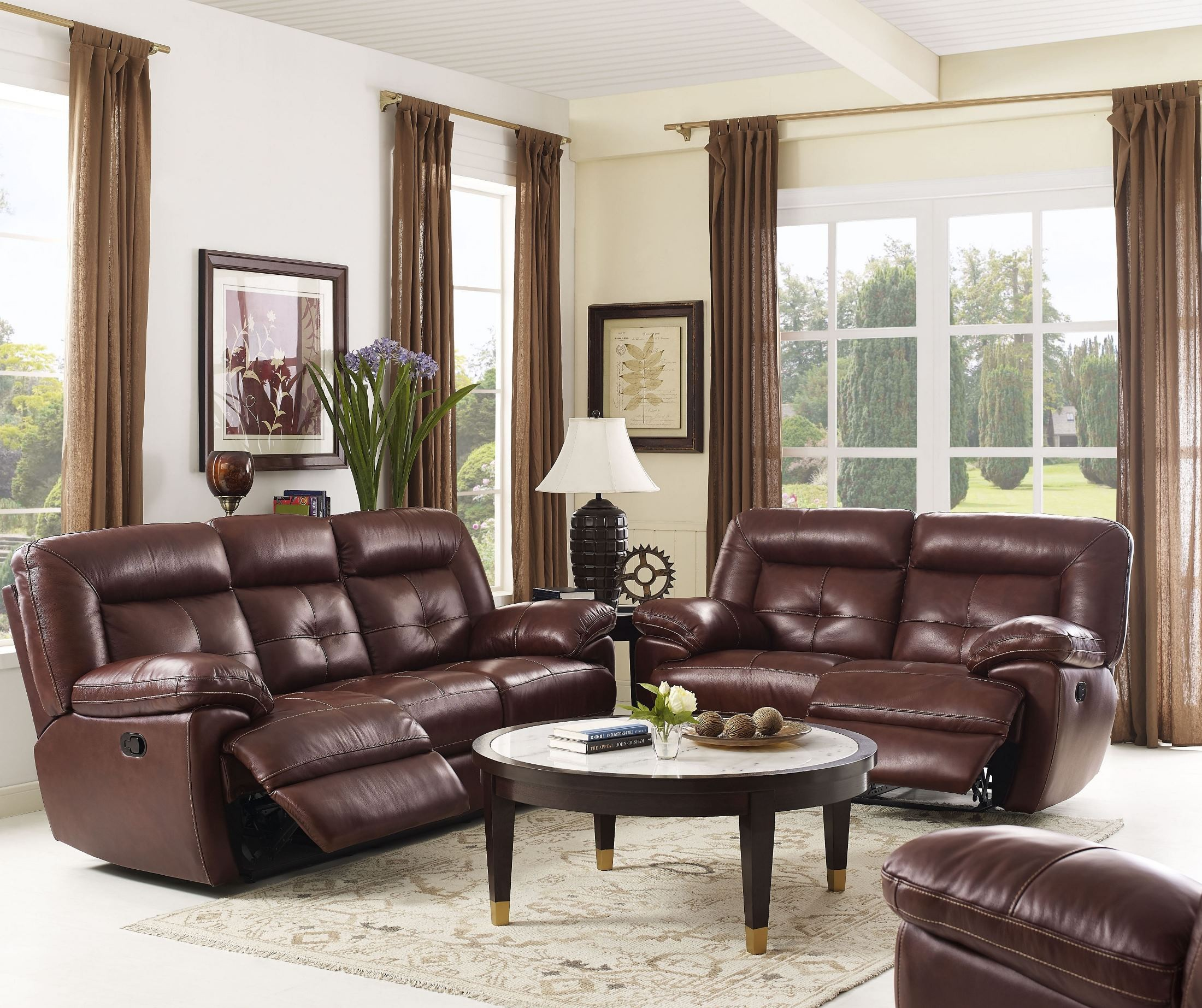 Stampede dark brown dual reclining living room set from for Dark brown living room set